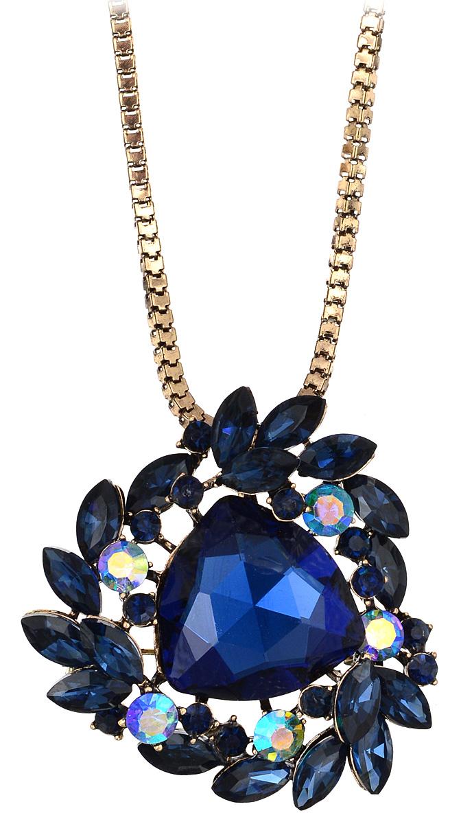 Кулон-брошь Taya, цвет: золотистый, синий. T-B-10931Брошь-кулонКулон-брошь Taya выполнен из металлического сплава и дополнен объемной цепочкой. Кулон инкрустирован крупным граненым кристаллом и сияющими стразами.Кулон оснащен петлей для подвешивания и застежкой-булавкой, что делает этот аксессуар универсальным. Цепочка застегивается на замок-карабин. Длина цепочки регулируется за счет дополнительных звеньев.Кулон-брошь Taya поможет дополнить любой образ и привнести в него завершающий штрих.