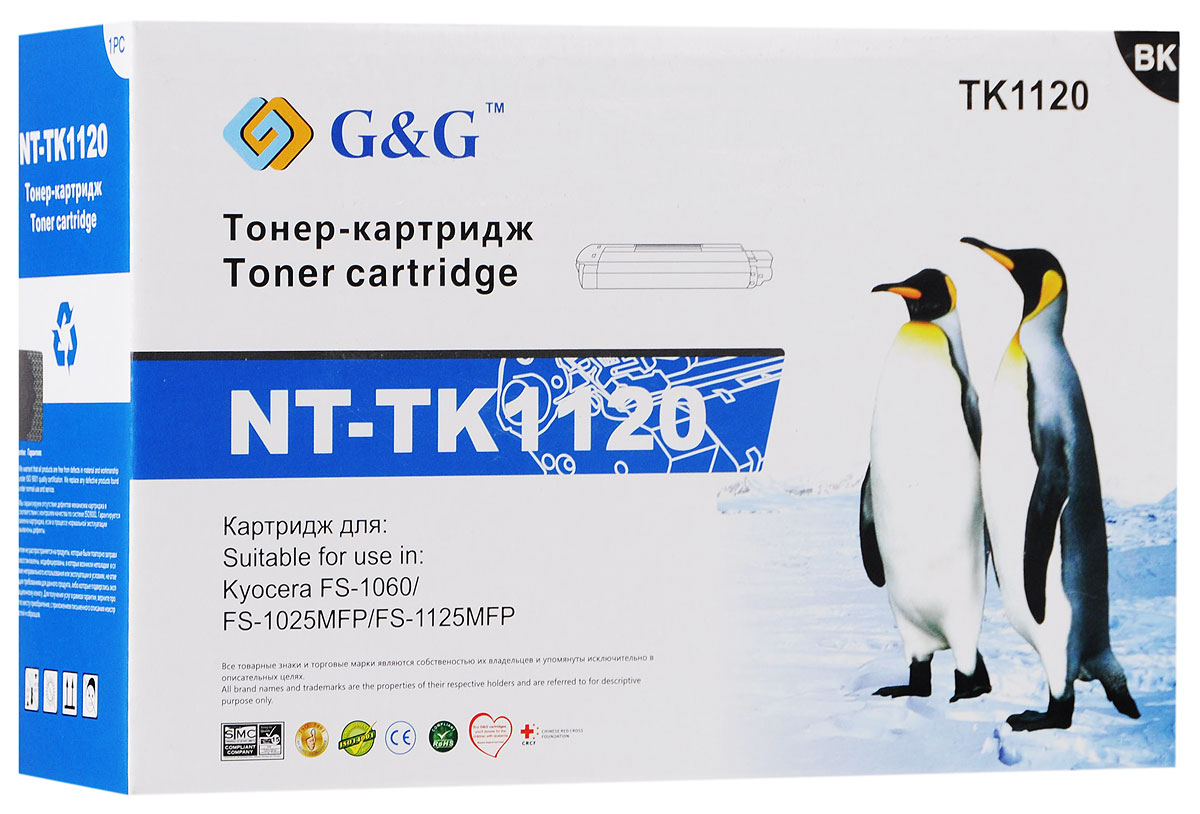 G&G NT-TK1120 тонер-картридж для Kyocera FS-1060/1025MFP/1125MFPNT-TK1120Тонер-картридж G&G NT-TK1120 для лазерных принтеров Kyocera FS-1060/1025MFP/1125MFP.Расходные материалы G&G для лазерной печати максимизируют характеристики принтера. Обеспечивают повышенную чёткость чёрного текста и плавность переходов оттенков серого цвета и полутонов, позволяют отображать мельчайшие детали изображения. Обеспечивают надежное качество печати.