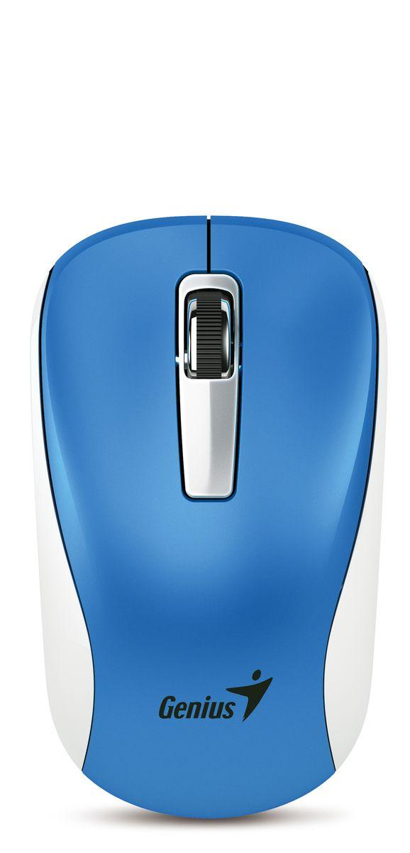 Genius NX-7010, Blue мышь беспроводная31030114110Мышь Genius NX-7010 с технологией BlueEye для точного контроля над курсором практически на любых поверхностях. Питание мыши NX-7010 осуществляется от одной батарейки типоразмера AA, а для продления срока службы батарейки используется выключатель питания. Двунаправленная связь на частоте 2,4 ГГц с защитой от помех гарантирует надежную работу на расстоянии до 10 метров. Наслаждайтесь отзывчивостью курсора и быстрой прокруткой. Мышь NX-6500 отлично подойдет тем, кто любит путешествовать: она прекрасно сочетается с ультрабуками и другими компьютерами.