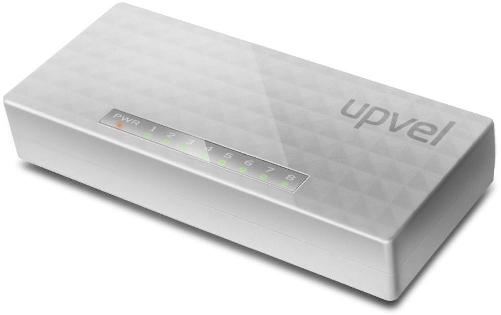 UPVEL US-8F коммутаторUS-8FВосьми портовый коммутатор UPVEL US-8F позволяет объединить в одну сеть несколько компьютеров и передавать данные со скоростью до 100 Мбит/с. Коммутатор поддерживает функцию Auto-MDIX, полудуплексный и дуплексный режимы передачи данных и технологию Plug & Play.Стандарт: IEEE 802.3 10Base-T / IEEE 802.3u 100Base-TX / IEEE 802.3x Flow ControlКабели: Ethernet: категория 5, длина до 100 метров / Fast Ethernet: категория 5, 5e или 6, длина до 100 метровСкорость передачи данных: Ethernet: 10 / 20 Мбит/с (полудуплексный / дуплексный режим) /Fast Ethernet: 100 / 200 Мбит/с (полудуплексный / дуплексный режим)Пропускная способность коммутационной матрицы: 1,6 Гбит/сТопология: ЗвездаТаблица коммутации: 2000 записей для каждого подключенного устройстваБуферная память: 512 Кбайт для каждого подключенного устройства