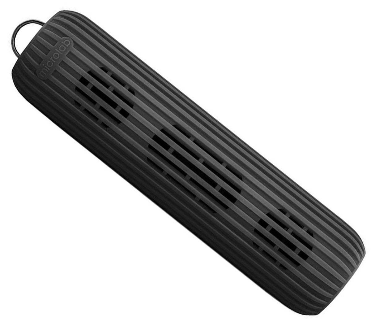 Microlab D21, Black портативная акустическая система80527Акустическая система необычной формы и дизайна ориентирована на людей, ведущих активный образ жизни. D21 способна стать прекрасным спутником как на небольшом пикнике на природе, так и в долгом походе. Благодаря силиконовому покрытию корпуса, сателлит прощает слушателю небольшие ударные воздействия, а также прекрасно переносит как росу, так и небольшой дождик, что наряду с пылью, может стать фатальным для других портативных акустических систем.Небольшие размеры обеспечивают портативность системы, она не занимает много места и поместится в любом рюкзаке или сумке, а идущий в комплекте шнурок способен закрепить сателлит в походном варианте, позволяя избежать потери колонки.В Bluetooth-режиме при входящем звонке на телефон, можно ответить на звонок через сателлит. Благодаря встроенному в колонку микрофону, телефон искать не обязательно.Колонка способна воспроизводить музыку без источника звука. Чтобы послушать музыку, вам не обязательно разряжать собственный телефон, достаточно вставить Micro SD-card в колонку и наслаждаться любимыми мелодиями.Многообразие цветов. Microlab D21 представлена в 5 цветах, можно выбрать ту расцветку, которая подходит именно вам.Литиевая батарея: 3,7 В; 1200 мАч