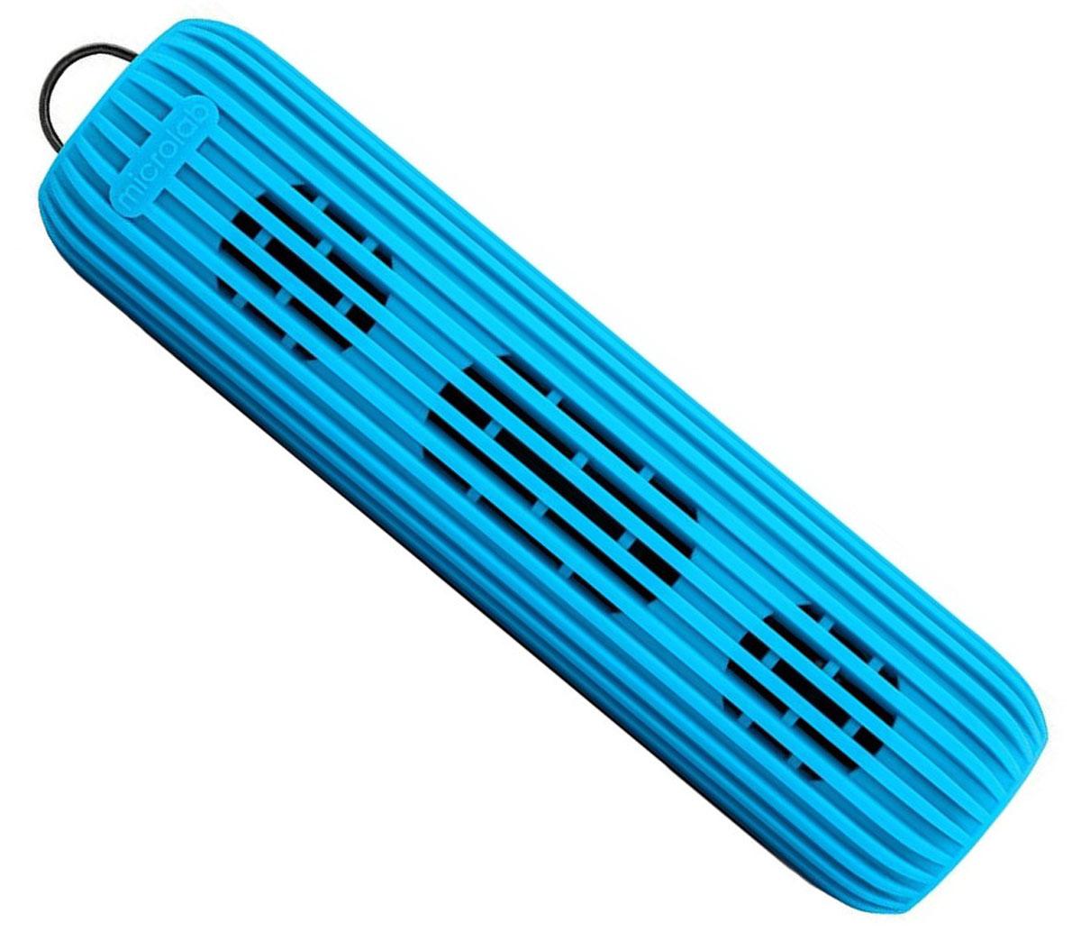 Microlab D21, Blue портативная акустическая система80528Акустическая система необычной формы и дизайна ориентирована на людей, ведущих активный образ жизни. D21 способна стать прекрасным спутником как на небольшом пикнике на природе, так и в долгом походе. Благодаря силиконовому покрытию корпуса, сателлит прощает слушателю небольшие ударные воздействия, а также прекрасно переносит как росу, так и небольшой дождик, что наряду с пылью, может стать фатальным для других портативных акустических систем.Небольшие размеры обеспечивают портативность системы, она не занимает много места и поместится в любом рюкзаке или сумке, а идущий в комплекте шнурок способен закрепить сателлит в походном варианте, позволяя избежать потери колонки.В Bluetooth-режиме при входящем звонке на телефон, можно ответить на звонок через сателлит. Благодаря встроенному в колонку микрофону, телефон искать не обязательно.Колонка способна воспроизводить музыку без источника звука. Чтобы послушать музыку, вам не обязательно разряжать собственный телефон, достаточно вставить Micro SD-card в колонку и наслаждаться любимыми мелодиями.Многообразие цветов. Microlab D21 представлена в 5 цветах, можно выбрать ту расцветку, которая подходит именно вам.Литиевая батарея: 3,7 В; 1200 мАч