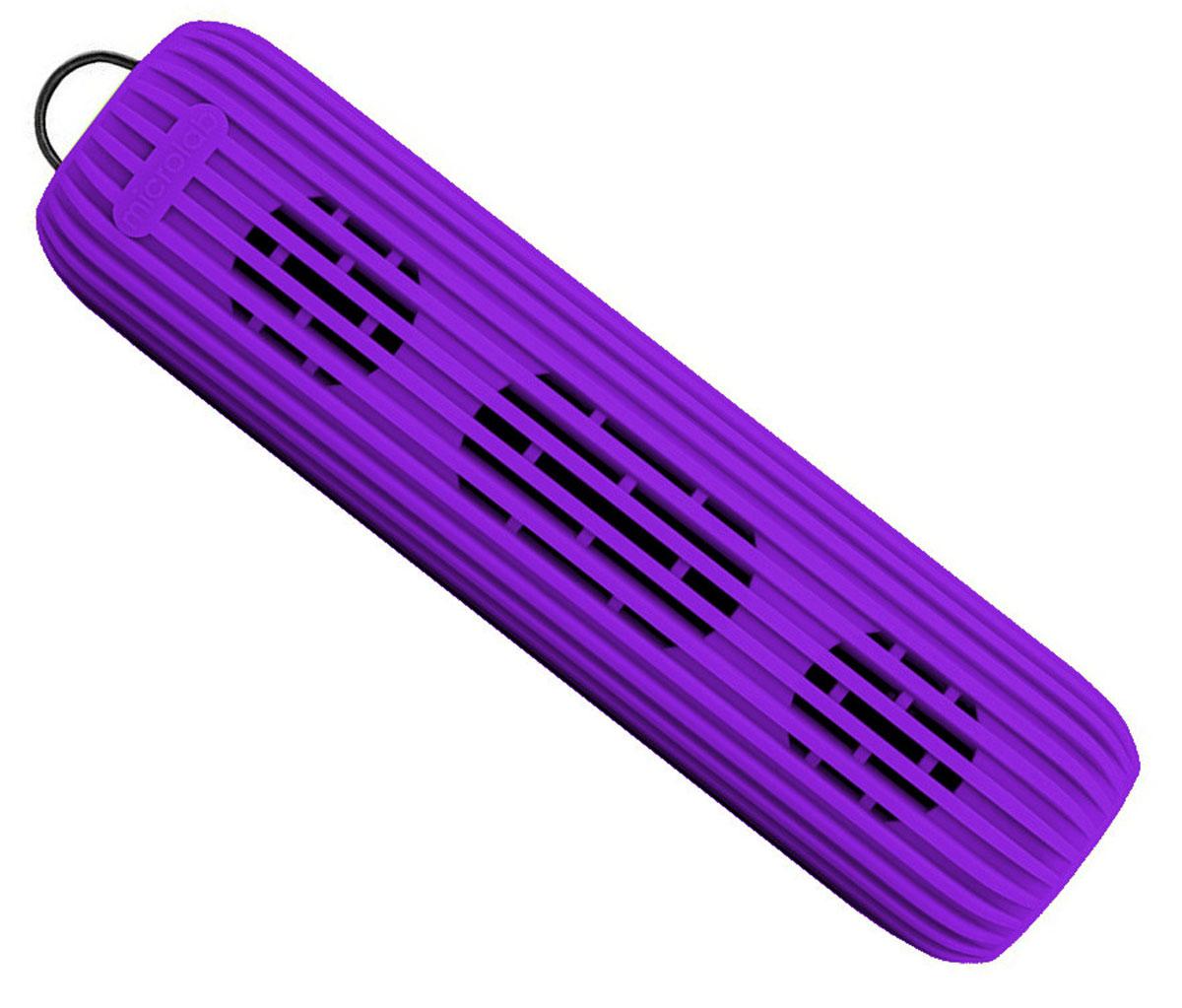 Microlab D21, Purple портативная акустическая система80529Акустическая система необычной формы и дизайна ориентирована на людей, ведущих активный образ жизни. D21 способна стать прекрасным спутником как на небольшом пикнике на природе, так и в долгом походе. Благодаря силиконовому покрытию корпуса, сателлит прощает слушателю небольшие ударные воздействия, а также прекрасно переносит как росу, так и небольшой дождик, что наряду с пылью, может стать фатальным для других портативных акустических систем.Небольшие размеры обеспечивают портативность системы, она не занимает много места и поместится в любом рюкзаке или сумке, а идущий в комплекте шнурок способен закрепить сателлит в походном варианте, позволяя избежать потери колонки.В Bluetooth-режиме при входящем звонке на телефон, можно ответить на звонок через сателлит. Благодаря встроенному в колонку микрофону, телефон искать не обязательно.Колонка способна воспроизводить музыку без источника звука. Чтобы послушать музыку, вам не обязательно разряжать собственный телефон, достаточно вставить Micro SD-card в колонку и наслаждаться любимыми мелодиями.Многообразие цветов. Microlab D21 представлена в 5 цветах, можно выбрать ту расцветку, которая подходит именно вам.Литиевая батарея: 3,7 В; 1200 мАч