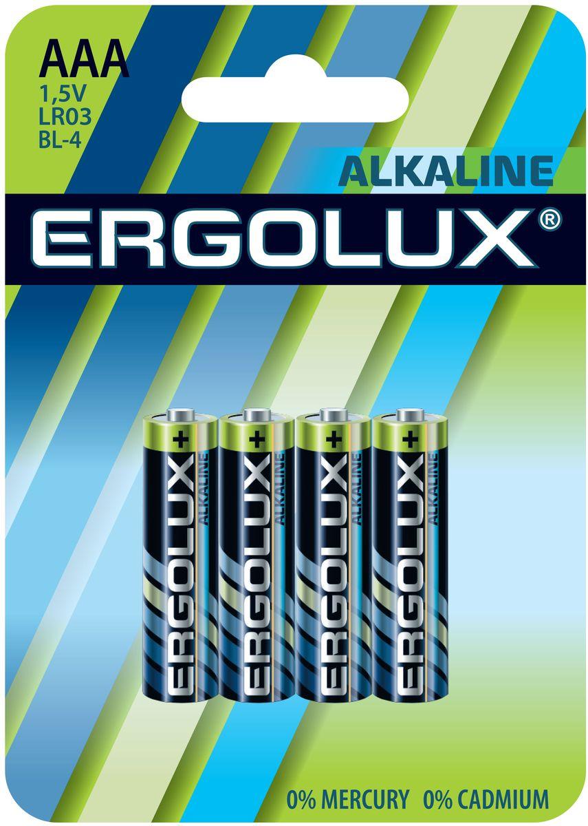 Батарейка алкалиновая Ergolux, тип ААА (LR03), 4 шт, 1,5 V11744Алкалиновые батарейки Ergolux являются щелочными элементами питания. Они не содержат кадмия и ртути. Батарейки предназначены для использования в приборах с высоким потреблением электроэнергии: фотоаппаратах, плеерах, фонарях, игрушках и других устройствах. Внимание!При установке проверить полярность. Не разбирать, не перезаряжать, не подносить к открытому огню. Не давать детям! Не устанавливать одновременно новые и использованные батарейки, а также батарейки различных систем и типов.