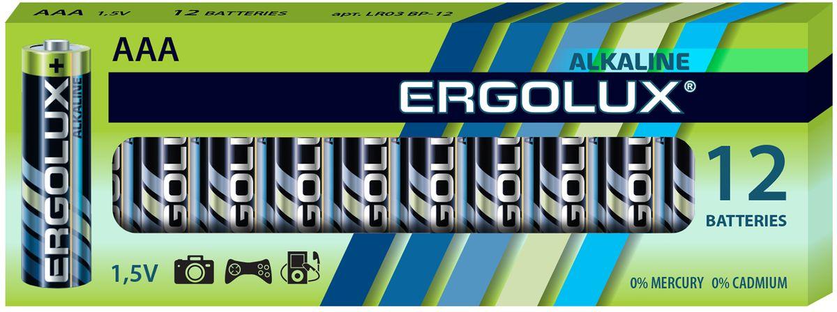 Батарейка алкалиновая Ergolux, тип LR03, 1,5 В, 12 шт11745Щелочные (алкалиновые) батарейки Ergolux оптимально подходят для повседневного питания множества современных бытовых приборов: электронных игрушек, фонарей, беспроводной компьютерной периферии и многого другого. Не содержат кадмия и ртути. Батарейки созданы для устройств со средним и высоким потреблением энергии. Работают в 10 раз дольше, чем обычные солевые элементы питания. Алкалиновые батарейки Ergolux - высокое качество и максимальная производительность.В комплекте 12 штук.
