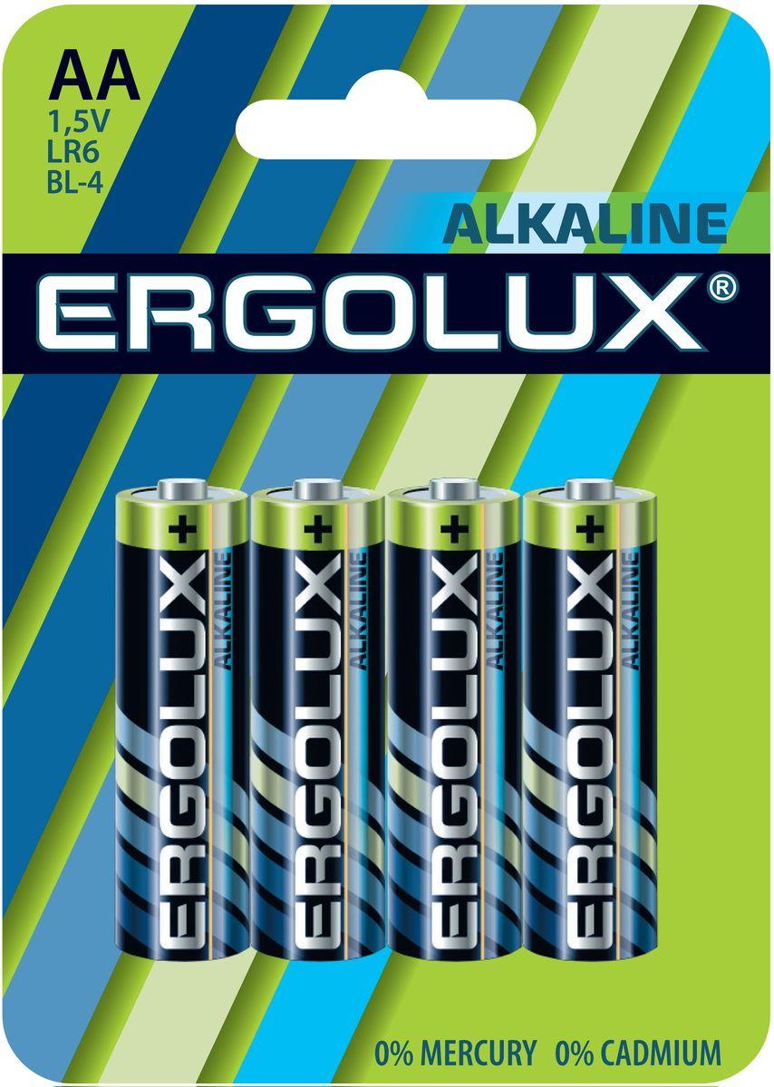 Батарейка алкалиновая Ergolux, тип LR6, 1,5 В, 4 шт11748Щелочные (алкалиновые) батарейки Ergolux оптимально подходят для повседневного питания множества современных бытовых приборов: электронных игрушек, фонарей, беспроводной компьютерной периферии и многого другого. Не содержат кадмия и ртути. Батарейки созданы для устройств со средним и высоким потреблением энергии. Работают в 10 раз дольше, чем обычные солевые элементы питания. Алкалиновые батарейки Ergolux - высокое качество и максимальная производительность.В комплекте 4 штуки.