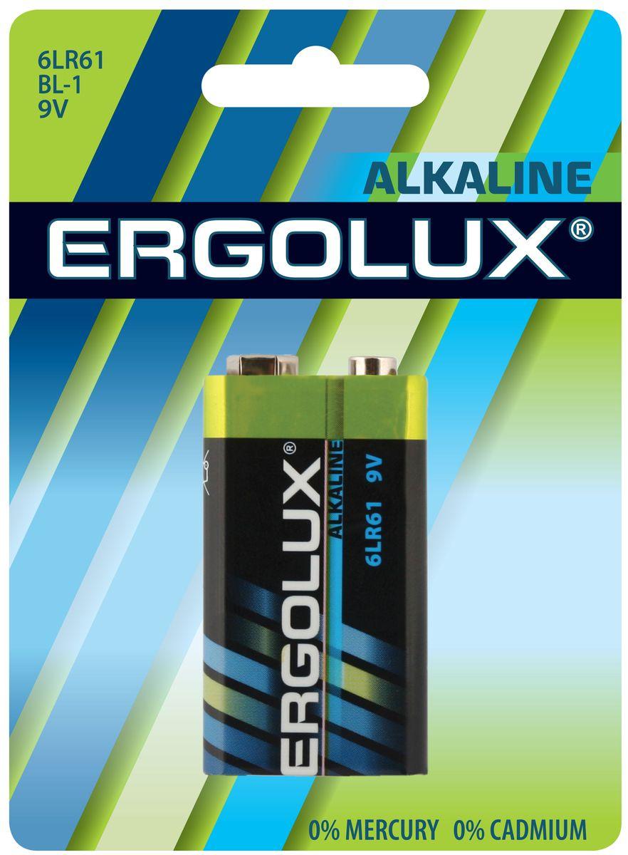 Батарейка алкалиновая Ergolux, тип 6LR61, 9 В, 1 шт11753Щелочная (алкалиновая) батарейка Ergolux рекомендуется использовать в устройствах со средним и высоким потреблением энергии (плееры, диктофоны, пульты ДУ, электробритвы, весы, фотоаппараты, фотовспышки, фонари, радиостанции и прочее). Не содержит кадмия и ртути. Батарейка создана для устройств со средним и высоким потреблением энергии. Работает в 10 раз дольше, чем обычные солевые элементы питания. Алкалиновая батарейка Ergolux - высокое качество и максимальная производительность.