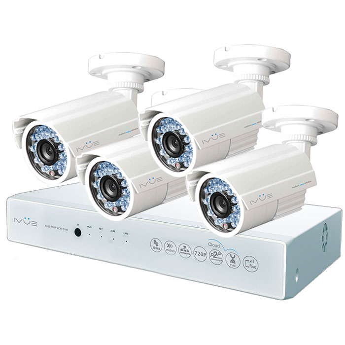 iVue D5004 AHC-B4 Дача 4+4 комплект видеонаблюденияIVUE-D5004 AHC-B4Комплект видеонаблюдения iVue D5004 AHC-B4 Дача 4+4 - это профессиональный набор систем охранного видеонаблюдения за вашим бизнесом, домом, дачей и т.д. Комплект включает в себя видеорегистратор AHD и 4 внешние всепогодные видеокамеры с разрешением сенсора 1 Мпикс,.AHD - самая современная технология кодирования и передачи видеоизображения по коаксиальному кабелю. Она позволяет передавать изображение с разрешением до 2 Мпикс на расстояние до 500 метров без потери качества изображения.Вы можете наблюдать за вашей собственностью из любой точки мира через интернет с помощью компьютера, планшета или смартфона. Простота подключения обеспечивается облачной технологией P2P. У вас так же есть возможность дополнить этот набор одной или двумя камерами по вашему выбору.Жесткий диск для этого набора приобретается отдельно и может иметь размер до 4 ТБ, что позволит вам поддерживать архив до 2-х месяцев без потери качества изображения. Набор укомплектован наклейкой Внимание! Ведется видеонаблюдение, что позволит предупредить многие правонарушения заблаговременно.Режимы записи: ручная/по расписанию/по движениюWAN RJ45 разъём: 10/100 Мбит/сОС: LinuxСтепень защиты корпуса IP66