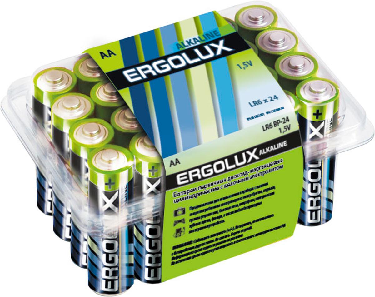 Батарейка алкалиновая Ergolux, тип LR6, 1,5 В, 24 шт11750Щелочные (алкалиновые) батарейки Ergolux оптимально подходят для повседневного питания множества современных бытовых приборов: электронных игрушек, фонарей, беспроводной компьютерной периферии и многого другого. Не содержат кадмия и ртути. Батарейки созданы для устройств со средним и высоким потреблением энергии. Работают в 10 раз дольше, чем обычные солевые элементы питания. Алкалиновые батарейки Ergolux - высокое качество и максимальная производительность.В комплекте 24 штуки.