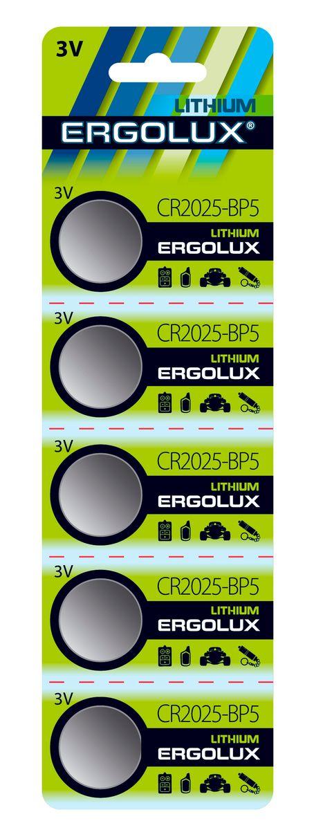 Батарейка литиевая Ergolux, тип CR2025, 3 В, 5 шт12050Батарейка Ergolux - это литиевая батарейка типа CR2025, которая применяется для поддержания памяти различных электронных устройствах. Литиевая батарейка Ergolux с напряжением 3 вольта является емким источником длительной энергии и лучше всего подходит для КПК, фото и видео техники, калькуляторов, охранных систем и других электронных устройств. Литиевая батарейка Ergolux обеспечивает более высокое напряжение, низкий уровень саморазряда (не более 2% в год), стабильную работу в широком диапазоне температур, длительный срок хранения (5-10 лет). Батарейка Ergolux - незаменимый источник энергии для современных электронных систем.В комплекте 5 штук.