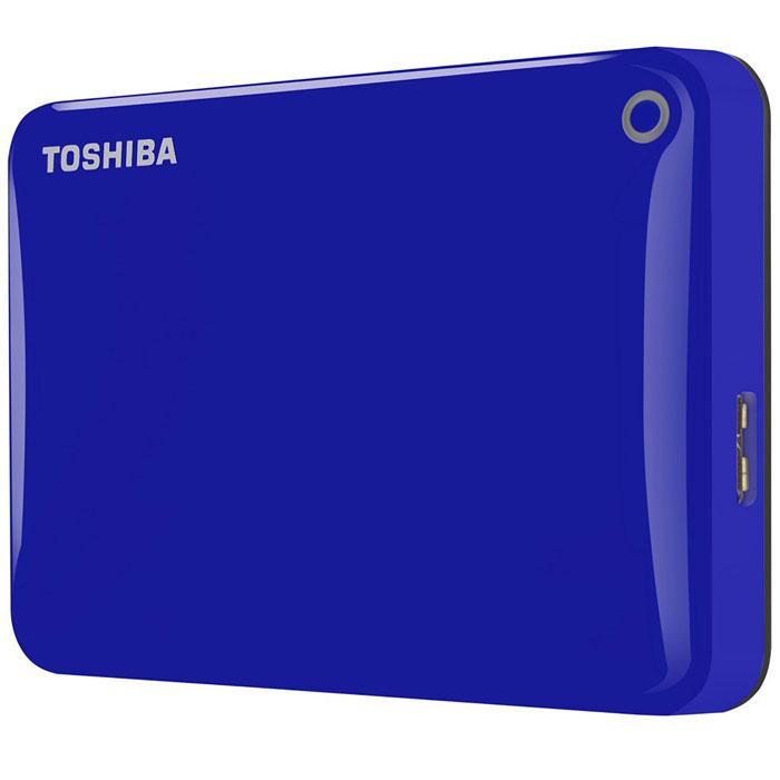 Toshiba Canvio Connect II 1TB, Blue внешний жесткий диск (HDTC810EL3AA)HDTC810EL3AAToshiba Canvio Connect II дает вам возможность быстро передавать файлы с интерфейсом USB 3.0 и хранить до 1 ТБ данных на внешнем жестком диске. Устройство полностью готово для работы с Microsoft Windows и не требует установки программного обеспечения, так что ничего не может быть удобнее для хранения всех ваших любимых файлов. В офисе или в дороге его классический дизайн будет всегда уместен. Более того, Toshiba Canvio Connect II позволяет подключаться также и к оборудованию с совместимостью USB 2.0.Этот внешний накопитель обеспечивает доступ к вашим файлам практически из любого места и с любого устройства. Toshiba Canvio Connect II может легко превратить ваш компьютер в облачный сервер благодаря предустановленному ПО для удаленного доступа (накопитель должен быть подключен к компьютеру и Wi-Fi). Помимо удаленного доступа это устройство предоставляет своему владельцу 10 ГБ дополнительного места в облачном сервисе. Программное обеспечение NTI Backup Now EZ обеспечивает удобное и надежное создание резервных копий и восстановление всех ваших папок, файлов и операционной системы.Canvio Connect II оборудован датчиком ударов, сигнал которого переводит головку жесткого диска в безопасное положение, за счет чего снижается риск повреждения носителя и потери данных при падении накопителя. Накопитель имеет уже установленный драйвер NTFS для Mac, поэтому вам не придется волноваться из-за типа вашего компьютера - просто подключите Canvio Connect II и получите доступ к вашим файлам.