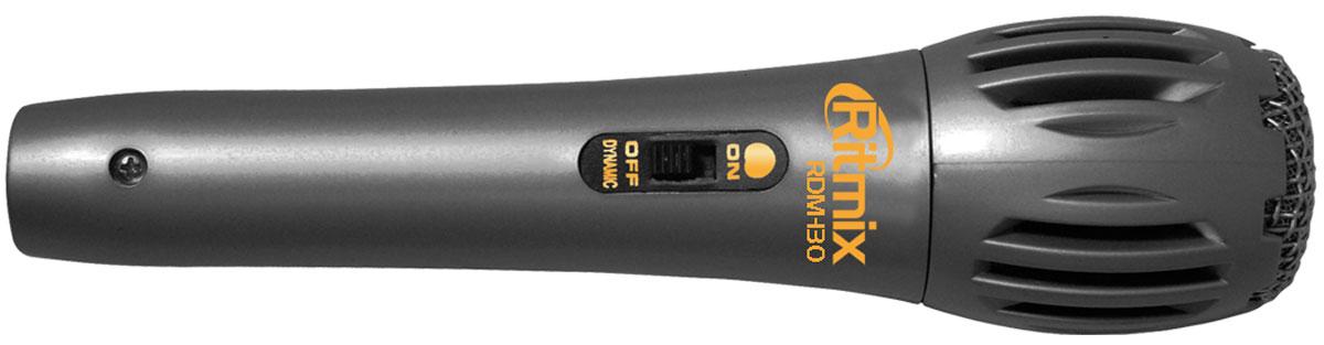 Ritmix RDM-130, Silver микрофон15115699Ritmix RDM-130 - суперлёгкий вокальный микрофон динамического типа, выполненный из пластика. Отлично подходит для домашнего использования и караоке. Данная модель имеет удобный съемный шнур длиной 3 метра со штекером стандарта 6,3 мм.