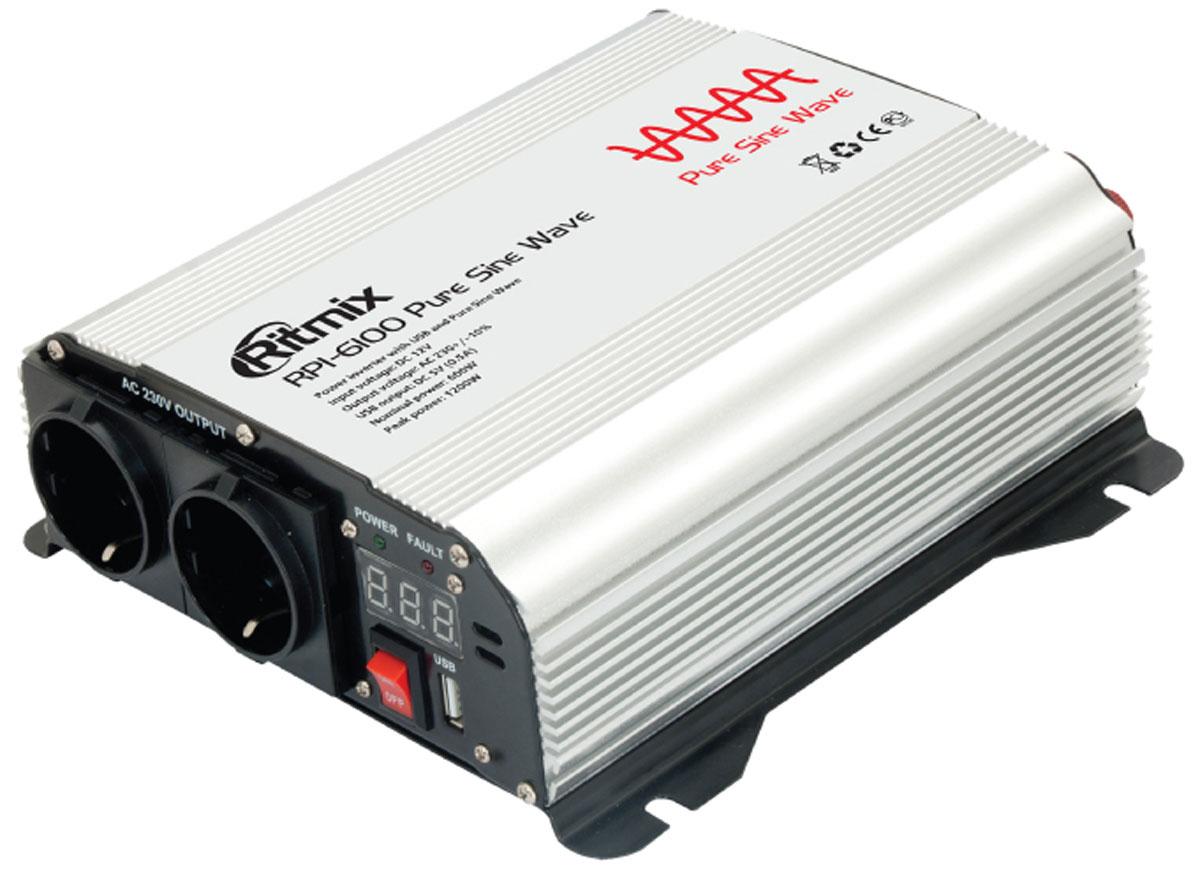 Ritmix RPI-6100 Pure Sine преобразователь напряжения15116443Ritmix RPI-6100 – автомобильный преобразователь напряжения с выходным сигналом в виде чистой синусоиды. Устройство позволяет осуществлять питание (зарядку) электронных устройств, работающих от сети 220 вольт или от USB.Инверторы с чистой синусоидой выдают самый надежный и последовательный выходной сигнал. Некоторое чувствительное оборудование, такое как бытовая техника, двигатели, насосы и медицинское оборудование, требует обязательной установки инвертора с формой волны в виде чистого синуса. Инвертор с правильной синусоидой позволяет создать максимально эффективную автономную сеть с корректной работой при любых нагрузках.Выходная мощность: максимальная - 600 Вт; импульсная - 1200 ВтВыходное напряжение: евророзетки - 230 В; USB - 5 ВВыходной ток USB: 0,5 АВыходной сигнал: чистая синусоидаВыходная эффективность: 90,5 %Порог отключения: при низком входном напряжении: 9,2 - 9,8 В; при высоком входном напряжении: 15 - 16 В