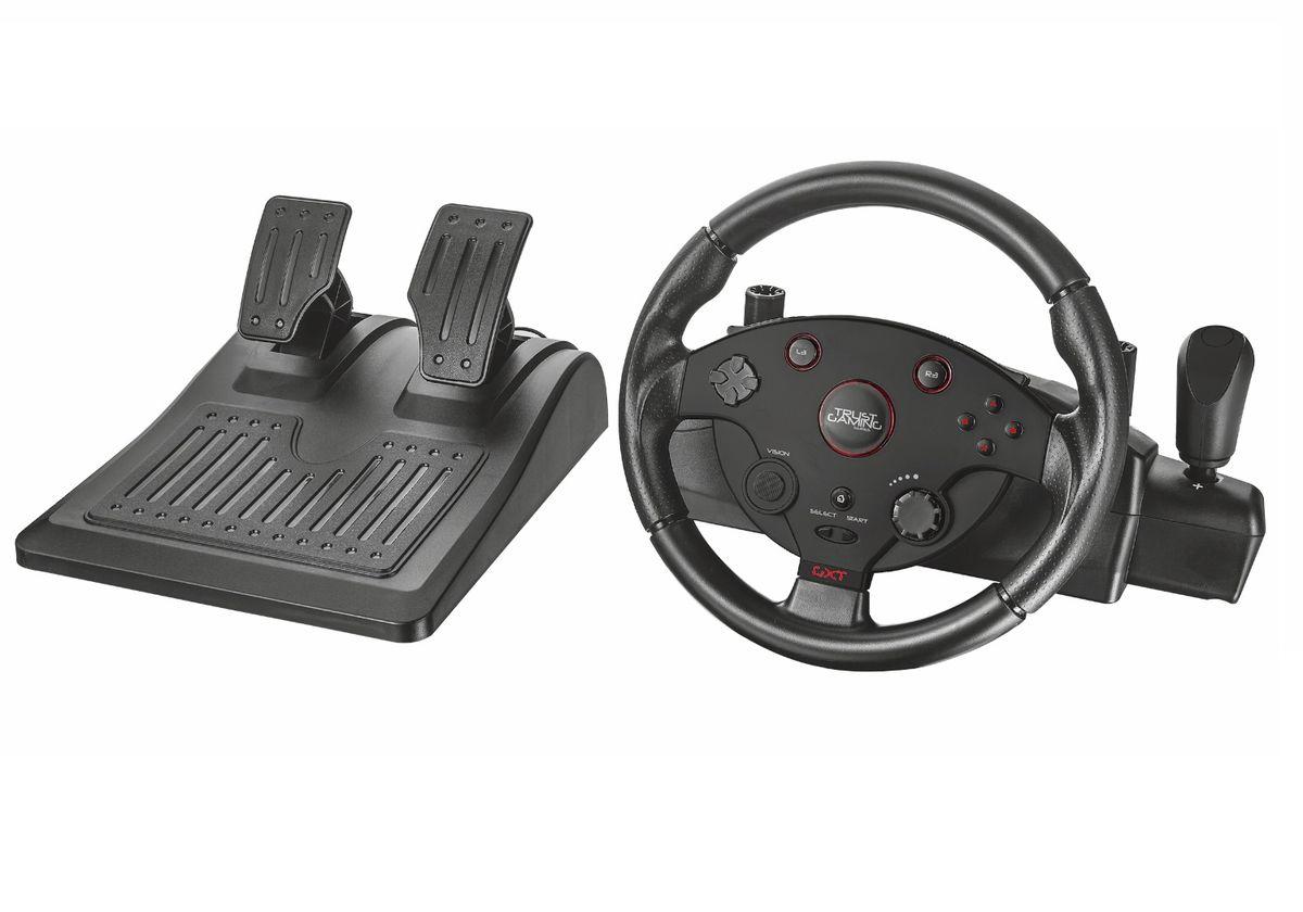 Trust GXT 288 Racing Wheel игровой руль20293Trust GXT 288 Racing Wheel - полноценное рулевое колесо с переключателем передач и ножными педалями.Прорезиненное покрытие рулевого колеса и рифлёные накладки на педали предотвращают соскальзывание рук и ног человека, которое может стать причиной проигрыша. Встроенный вибромотор имитирует тряску руля при проезде неровностей, позволяя человеку ощутить себя в салоне настоящего гоночного автомобиля. Регулировка усилия руля и скорости возврата в нейтральное положение помогает сделать удобной езду на любой скорости.Эргономичный руль, подходящий для всех видов гонокРежим Х-входа для создания вибрации и автоматического преобразования ключей для игр на ПКРегулируемая отзывчивость руля для более точного управленияНожные педали удобного размера с устойчивым нескользящим основаниемПередача вибрации для создания эффекта реальных гонокПокрытый резиной руль для предотвращения проскальзыванияВращение руля на 270 градусовРычаг для последовательного переключения передачЭффект вибрации должен поддерживаться игровым приложением.