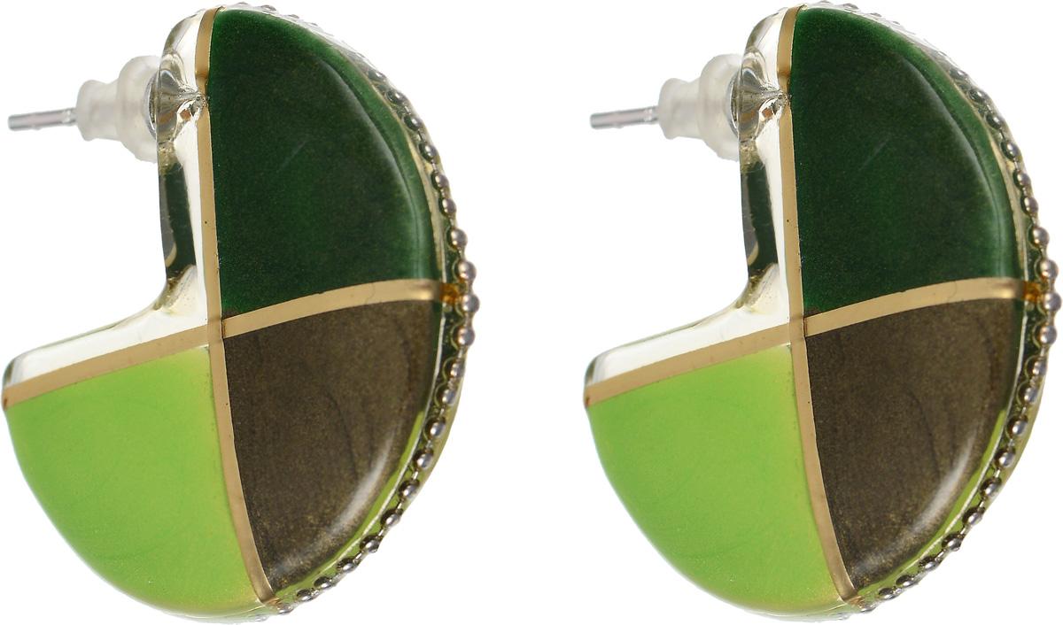 Серьги Lalo Treasures Equinox, цвет: зеленый. E3442-3Пуссеты (гвоздики)Оригинальные серьги Lalo Treasures Equinox изготовлены из металлического сплава, дополнены декоративными элементами из ювелирной смолы.Изделие застегивается на замок-гвоздик с заглушкой, которая надежно зафиксирует серьги.Стильные серьги не оставят равнодушной ни одну любительницу изысканных украшений и помогут создать собственный неповторимый образ.