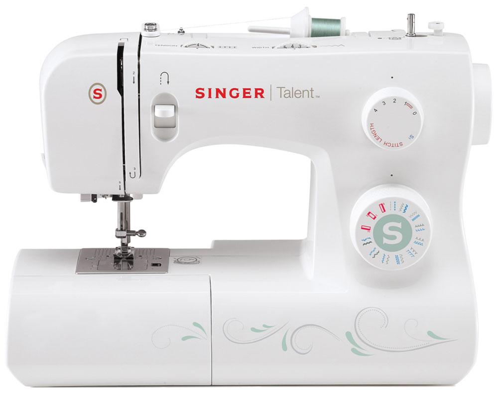 Singer Talent 3321 швейная машинаTalent3321Электромеханическая швейная машина Singer Talent 3321 оснащена горизонтальным челноком, а также имеет большой набор строчек, и умеет делать все основные швейные операции. Данная модель оснащена нитевдевателем и отлично подойдет для обучения шитью, шитья и ремонта одежды, шитья предметов домашнего обихода и для других подобных работ.Основные особенности:Быстрая и простая замена прижимной лапкиМеталлическая станинаРукавная платформаГоризонтальный вращающийся челнокВысокий подъем лапки для шитья толстых тканей