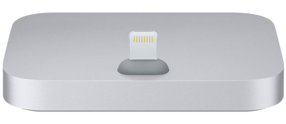 Apple iPhone Lightning Dock, Space Gray док-станцияML8H2ZM/AДок-станция для iPhone с разъёмом Lightning выпускается в металлическом корпусе четырёх цветов, идеально подходящих к iPhone.Apple iPhone Lightning Dock позволяет заряжать и синхронизировать любой iPhone с разъёмом Lightning. Во время зарядки и синхронизации девайс устанавливается на док-станцию вертикально, поэтому куда бы вы её ни поставили, вам будет отлично виден экран. Смартфон легко устанавливается на док-станцию даже в чехле Apple. Кроме того, вы можете разблокировать iPhone или использовать Touch ID, не снимая его с док-станции. Поместите ваш iPhone на док-станцию и разговаривайте по громкой связи — качество звука будет превосходным. Вы также можете подключить док-станцию к компьютеру с помощью кабеля USB (входит в комплект поставки iPhone) для зарядки и синхронизации.При помощи разъема 3,5 мм можно прослушивать музыку во время зарядки и синхронизации. Подключите к док-станции активные динамики или стереосистему с помощью кабеля 3,5 мм (продаётся отдельно), чтобы слушать на iPhone музыку и подкасты.