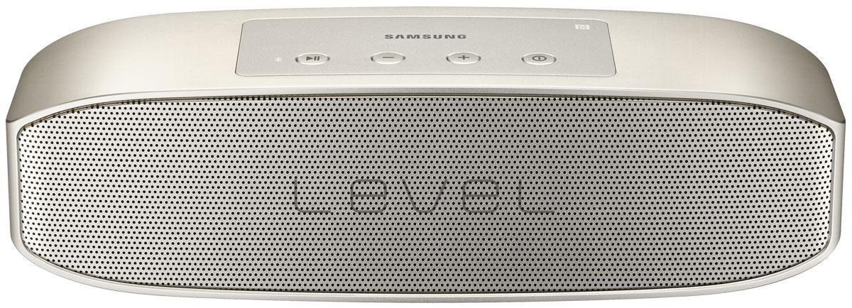 Samsung EO-SG928TFE Level Box Pro, Gold беспроводная аудиоколонкаEO-SG928TFEGRUНаслаждайтесь звуком студийного качества с компактной колонкой Samsung Level Box Pro. При воспроизведении используется современный кодек UHQ-BT, сокращающий потерю звучания. За счет расположенных внутри колонки четырех динамиков и двух пассивных радиаторов звук одинаково чистый на любых частотах - и басах, и верхах, и средних. Мощность в 20 Ватт обеспечивает отличную громкость даже в помещениях большой площади.Функция TTS преобразует звук в голос и выполняет роль вашего личного помощника - напоминает о планах на день и сообщениях. При одновременном включении двух колонок Samsung Level Box Pro можно получить стереозвук еще более мощного звучания. Колонку можно подключить к двум устройствам - планшету и смартфону - при помощи Bluetooth или NFC. Колонка обладает интуитивно понятным управлением - на ее корпусе располагаются всего 4 кнопки - включения/выключения, воспроизведения/паузы, регулировки громкости, переключения трека. Ее удобно использовать и для телефонных звонков, она минимизирует количество шумов и эффекта эха. Компактные размеры устройства позволяют брать ее с собой на пикник или в путешествие и не расставаться с любимой музыкой.