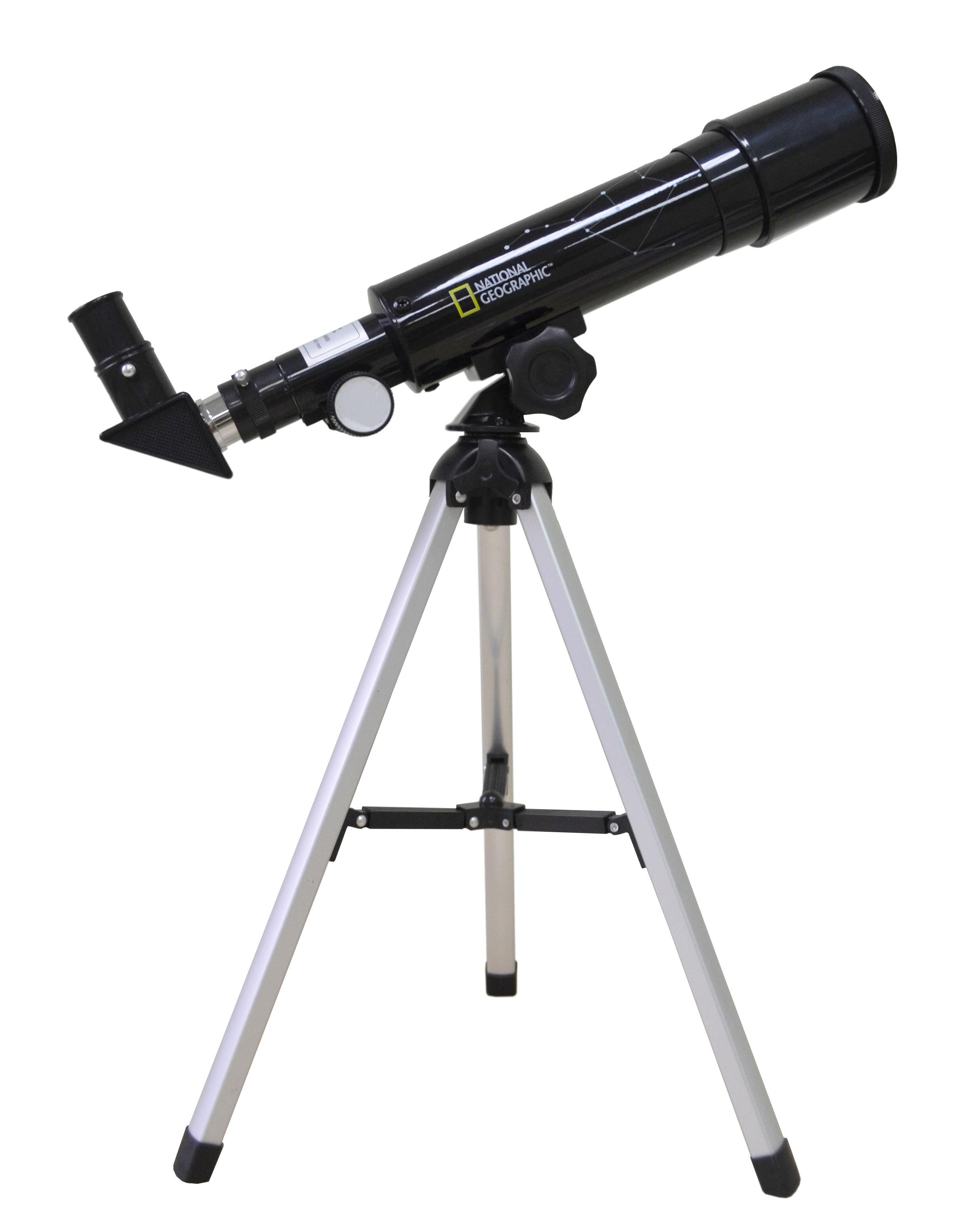 Bresser National Geographic 50/360 AZ телескоп9118001Bresser National Geographic 50/360 AZ представляет собой короткофокусный ахроматический рефрактор. Телескоп комплектуется двумя окулярами: 6 мм и 20 мм. Начинать наблюдения рекомендуется с окуляра с большим фокусным расстоянием, поскольку он имеет более широкое поле зрения и, соответственно, позволяет охватить большее пространство. Для детального изучения астрономических объектов нужно использовать окуляр 6 мм. В базовой комплектации телескоп имеет увеличение от 18 до 60 крат.Труба установлена на азимутальную монтировку. Монтировки такого типа очень просты в управлении и наилучшим образом подходят для визуальных наблюдений. Алюминиевая тренога мало весит и обеспечивает устойчивое положение прибора.В комплект входит диагональное зеркало, позволяющее вести наблюдения из более удобного положения.