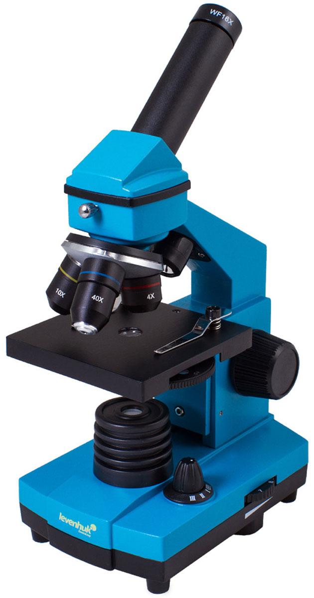 Levenhuk Rainbow 2L Plus, Azure микроскопXSP-42 metal Pantone #313CМикроскоп Levenhuk Rainbow 2L Plus понравится и школьнику, увлекающемуся биологией, и студенту-медику, проводящему десятки различных исследований. У этой модели много достоинств: качественная просветленная оптика, увеличение от 64 до 640 крат, возможность изучения прозрачных и непрозрачных препаратов, надежная конструкция. Те, кто только начинает знакомство с микромиром, оценят набор для опытов, который идет в комплекте. Кроме того, благодаря яркому и стильному дизайну Levenhuk Rainbow 2L Plus сразу выделяется на фоне стандартных биологических микроскопов.Оптика высокого качества:От качества оптики зависит качество изображения, поэтому при производстве серии Levenhuk Rainbow 2L Plus использованы только лучшие материалы. Все линзы сделаны из специального оптического стекла - оно отличается высокой прозрачностью и не искажает картинку. Дополнительно на оптические поверхности нанесено многослойное просветляющее покрытие, которое повышает коэффициент светопропускания и увеличивает яркость и контрастность изображения.В револьверном устройстве установлены объективы, с которыми микроскоп дает увеличения 64, 160 и 640 крат. Чтобы поменять кратность, нужно повернуть револьверное устройство. Объектив с наибольшим увеличением (40xs) снабжен защитным пружинным механизмом - хрупкая оптика не повредится, если неопытный исследователь неосторожно заденет объективом препарат.Возможность изучения прозрачных и непрозрачных образцов:Микроскоп снабжен двумя осветителями - это позволило расширить его возможности. Чтобы увидеть микроорганизмы в капле воды или рассмотреть клеточную структуру растений, используйте нижнюю подсветку. Верхний осветитель применяется для изучения непрозрачных объектов - с его помощью можно оценить качество бумаги или обнаружить не видимые невооруженным глазом царапины и вмятины на монете. Полупрозрачные объекты хорошо различимы, если включить сразу обе подсветки. Яркость подсветки регулируется - 