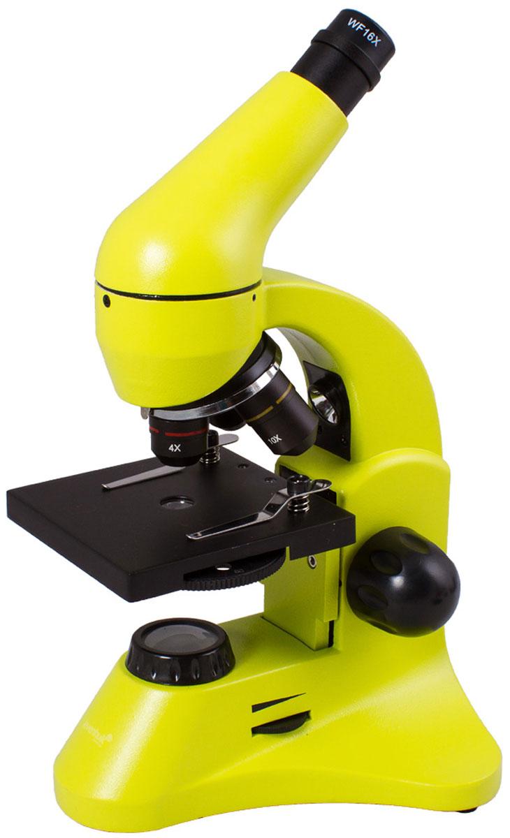 Levenhuk Rainbow 50L Plus, Lime микроскопXSP-45 metal Pantone #388CУчеба или лабораторные исследования станут увлекательнее с микроскопом Levenhuk Rainbow 50L Plus. Новичкам пригодится набор для проведения экспериментов, а опытные исследователи оценят превосходные оптические характеристики, эргономичность и надежность прибора. Благодаря яркому революционному дизайну микроскоп станет идеальным подарком для всех, кто интересуется биологией.Качественная оптика:Три объектива позволяют получить увеличения 64, 160 и 640 крат. В конструкции объектива 40xs используется особый пружинный механизм, который защищает оптику от повреждений. Благодаря этому механизму объектив отодвинется, если при фокусировке случайно коснуться им препарата. В комплект входит линза Барлоу, повышающая кратность прибора с каждым объективом. Уже в базовой комплектации микроскоп позволяет получить увеличение до 1280 крат!Линзы сделаны из качественного оптического стекла и покрыты просветляющим составом, так что картинка получается контрастной и резкой.Универсальная светодиодная подсветка:Микроскоп снабжен двумя яркими светодиодными осветителями. Чтобы изучать прозрачные препараты, например кошачью шерсть или микроскопических аквариумных рачков, используйте нижнюю подсветку. С помощью верхнего осветителя можно рассматривать непрозрачные препараты - волокна бумаги, монеты и многое другое. Полупрозрачные объекты хорошо видны, если включить сразу оба осветителя. Яркость регулируется, так что для каждого объекта можно подобрать подходящий уровень освещения.Эргономичный корпус:Микроскоп отличается современным эргономичным дизайном - в его конструкции учтено все для удобного использования. Корпус изготовлен из металла, так что прибор легко выдержит частое использование. Чтобы пользователь не уставал при долгой работе с микроскопом, окулярная насадка наклонена на 45°. Кроме того, насадку вращается на 360° вокруг оси - при групповых занятиях микроскоп можно не двигать.Подсветка работает от сети переменного ток