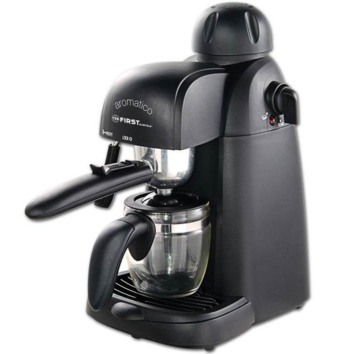First FA-5475, Black кофеваркаFA-5475First FA-5475 - превосходная рожковая кофеварка для приготовления ароматного эспрессо на каждый день. Данная модель оборудована насосной системой давления на 4 бар. Прибор оснащен съемным лотком для сбора капель и предохранительным клапаном для обеспечения комфортного использования. Также имеется светодиодный индикатор питания. Емкость кофеварки рассчитана на 4 чашки.