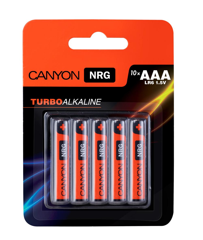 Батарейка алкалиновая Canyon NRG, тип AAA (LR03), 10 штALKAAA10Щелочная технология идеально подходит для устройст с высоким энергопотреблением, щелочные батареи в 6 раз лучше обычных солевых батарей, батарея остается годной для использования в течении 5 лет, щелочные батареи Canyon NRG содержат 0% кадмия и ртути.