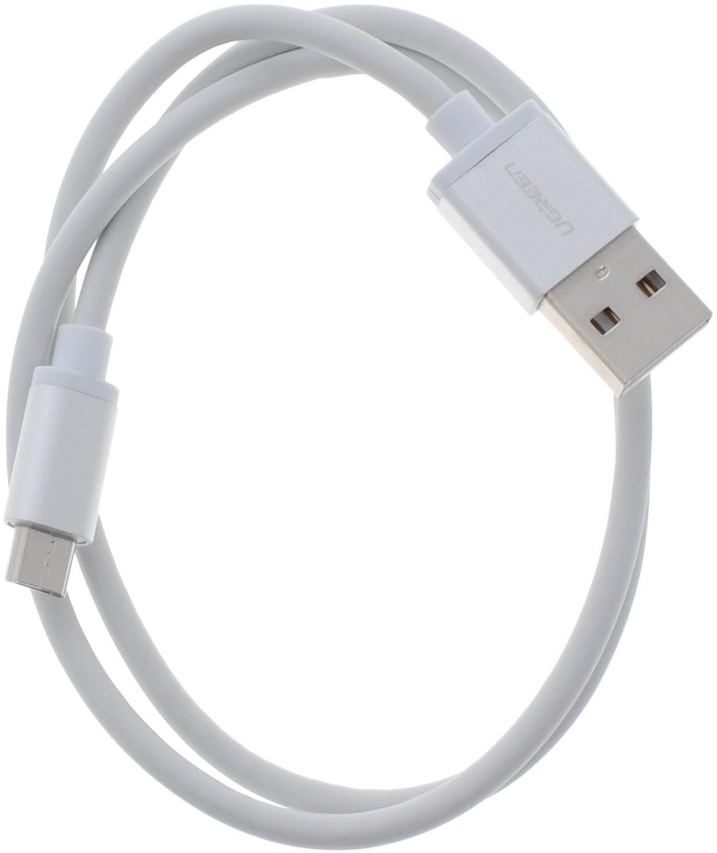 Ugreen UG-10828, White Silver кабель microUSB-USB 0.5 мUG-10828Кабель Ugreen UG-10828 позволяет подключать мобильные устройства, которые имеют разъем microUSB к USB разъему компьютера. Подходит для повседневных задач, таких как синхронизация данных и передача файлов. Экранирование кабеля позволит защитить сигнал при передаче от влияния внешних полей, способных создать помехи.Пропускная способность интерфейса: USB 2.0 до 480 Мбит/сДиаметр проводника питания: 5V: 24 AWGДиаметр проводника передачи данных: 28 AWGТип оболочки: PVC (ПВХ)