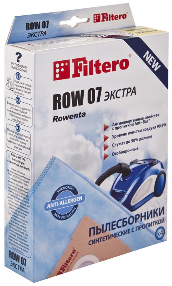 Filtero ROW 07 Экстра мешок-пылесборник для Rowenta, 4 штROW 07 ЭКСТРАПылесборники Filtero ROW 07 Экстра произведены из синтетического микроволокна MicroFib с антибактериальной пропиткой Anti-Bac. Очень прочные, они не боятся острых предметов и влаги, собирают больше пыли (до 50%) и обеспечивают уровень очистки воздуха 99,9%, а также задерживают бактерии и препятствуют их распространению. При этом мощность всасывания пылесоса сохраняется в течение всего периода службы пылесборника.Пылесборники подходят для следующих моделей пылесосов:RowentaRO 4420 - RO 4490 Compact Silence ForceRO 4521 - RO 4549 Silence ForceRO 4621 - RO 4649 Compact Silence ForceRO 4723 - RO 4762 Silence ForceRO 5822 Silence Force ExtremeRO 5825 Silence Force ExtremeRO 5921 Silence Force Extreme