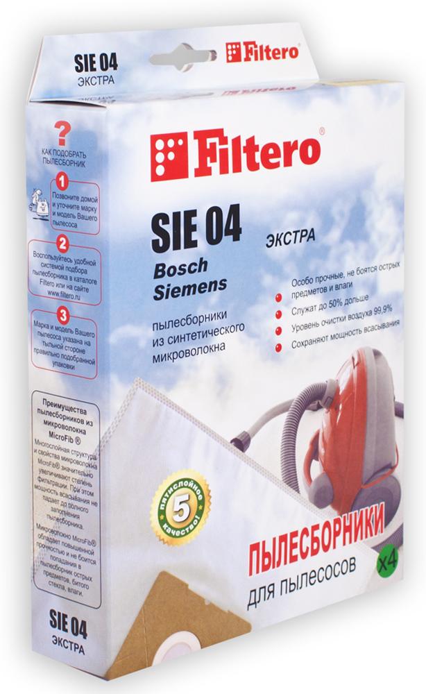 Filtero SIE 04 Экстра мешок-пылесборник для Bosch и Siemens, 4 штSIE 04 ЭкстраПылесборники Filtero SIE 04 Экстра произведены из синтетического микроволокна MicroFib. Очень прочные, они не боятся острых предметов и влаги, собирают больше пыли (до 50%) и обеспечивают уровень очистки воздуха 99,9%, что значительно выше, чем у бумажных пылесборников. При этом мощность всасывания пылесоса сохраняется в течение всего периода службы пылесборника.Пылесборники подходят для следующих моделей пылесосов:Siemens:VS 01G000 - VS 01G999 Smily/Super SXBosch:BSG 1000 - BSG 1999 ArrivaBSN 1600 Big bag,BSN 1700 Big bag,BSN 1810 Big bag,BSN 2010 Big bag.