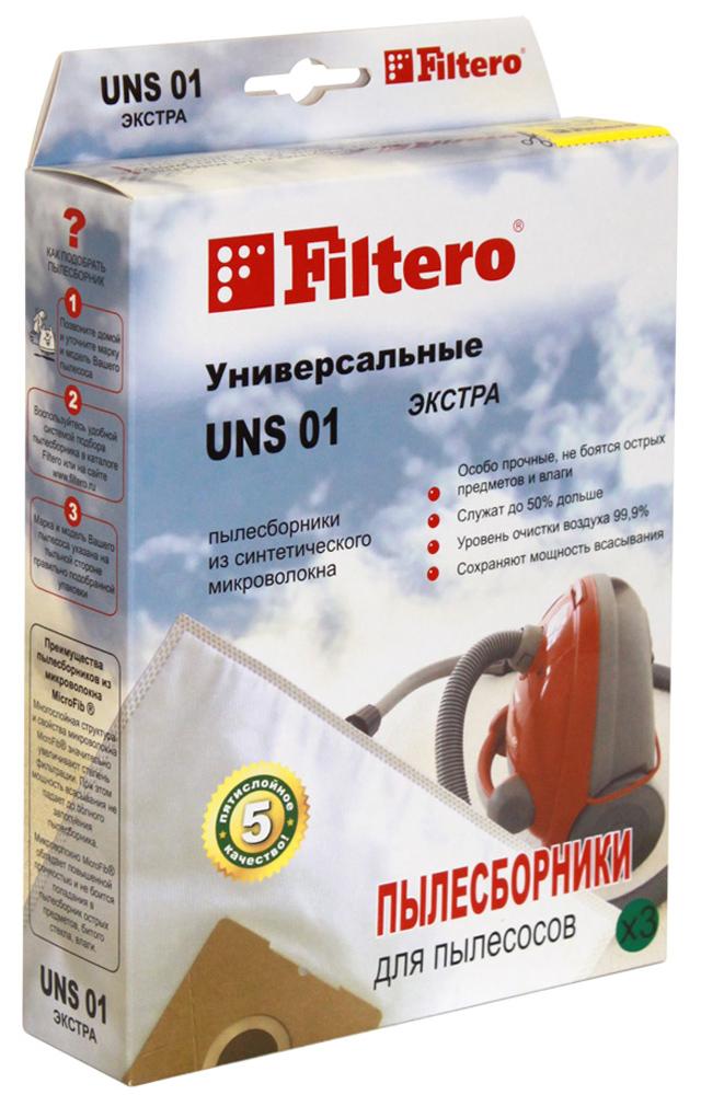 Filtero UNS 01 Экстра мешок-пылесборник, 3 штUNS 01 ЭКСТРАПылесборники Filtero UNS 01 Экстра пригодны для установки в любые пылесосы, конструкция которых допускает использование одноразовых пылесборников. Они произведены из синтетического микроволокна MicroFib. Очень прочные, они не боятся острых предметов и влаги, собирают больше пыли (до 50%) и обеспечивают уровень очистки воздуха 99,9%, что значительно выше, чем у бумажных пылесборников. При этом мощность всасывания пылесоса сохраняется в течение всего периода службы пылесборника.Внимание! Для использования универсального пылесборника необходимо иметь посадочное место (фланец)использованного пылесборника, подходящего к вашему пылесосу.