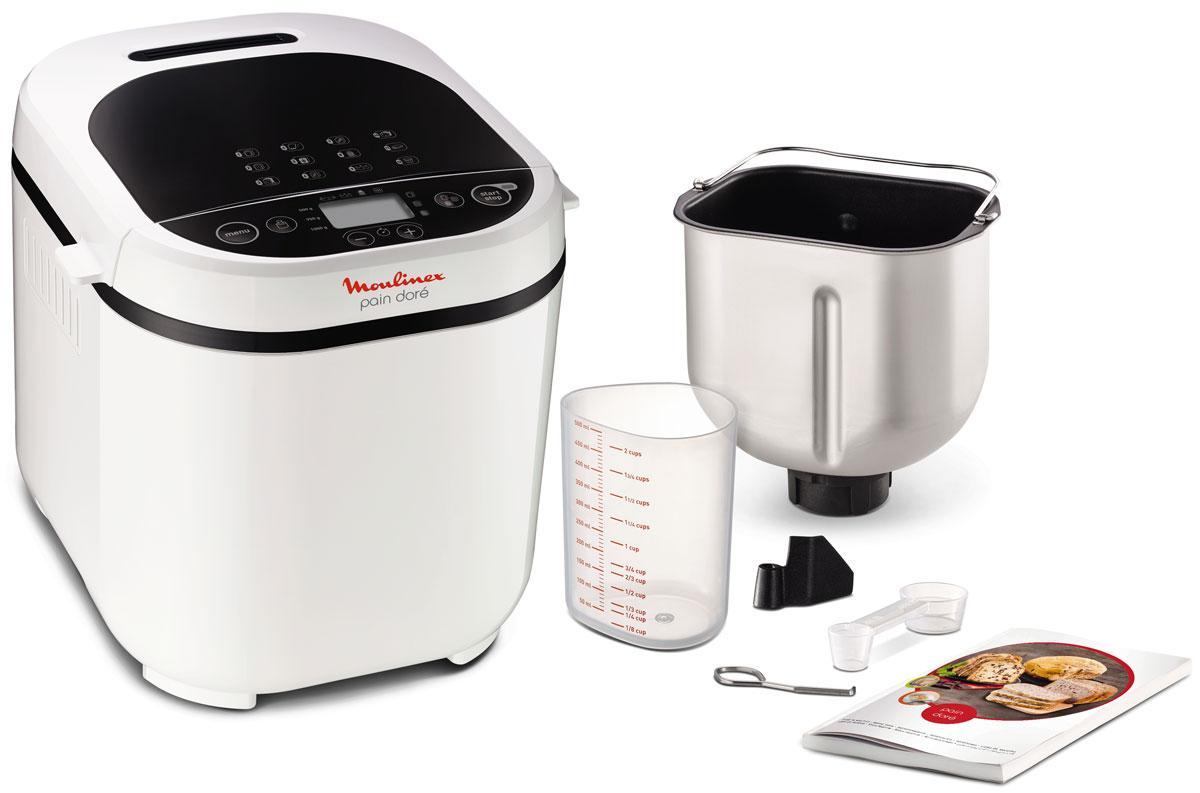 Moulinex OW210130 Pain Dore хлебопечкаOW210130Хлебопечка Moulinex OW210130 позволит приготовить различные виды хлеба (классический, французский, сладкий, ржаной, цельнозерновой, без глютена), а также пирог, варенье, кашу, тесто и выпечку (всего 12 программ). Данная модель позволяет регулировать вес изделия (500, 750 или 1000 г), а также выбрать 3 разные степени его обжарки. Надежное антипригарное покрытие значительно увеличит срок службы прибора. Также имеются функция отсрочки старта и таймер.