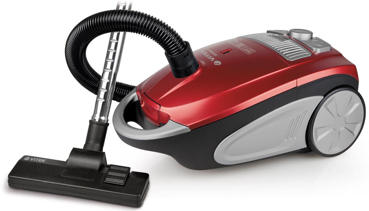Vitek VT-1892(R) пылесосVT-1892(R)Vitek VT-1892(R) - пылесос, который отлично справится с поддержанием чистоты в жилом помещении. Данная модель имеет прекрасную мощность всасывания и очень проста в эксплуатации. Пылесос оснащен съёмным пылесборником, который при необходимости можно достать и очистить. Силу всасывания можно регулировать, шнур сматывается после отключения прибора и нажатия на кнопку. На корпусе есть индикатор заполнения ёмкости пылью.В Vitek VT-1892(R) предусмотрен фильтр, который задерживает частицы загрязнений любого размера, нередко приводящие к развитию заболеваний. Для такого пылесоса не составит труда очистить от загрязнений ковёр или мягкую мебель.