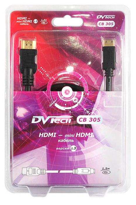 DVTech CB305 кабель HDMI-miniHDMI 1.5 м6930149883056Цифровой HDMI кабель DVTech CB305 предназначен для высококачественной передачи видео- и аудиоданных с видеокамер или с других портативных устройств с разъемом miniHDMI к телевизору или монитору с интерфейсом HDMI версии 1.3.Поддержка многоканального объемного звучанияПоддержка телевизоров с разрешением 480p, 576p, 720p, 1080p.