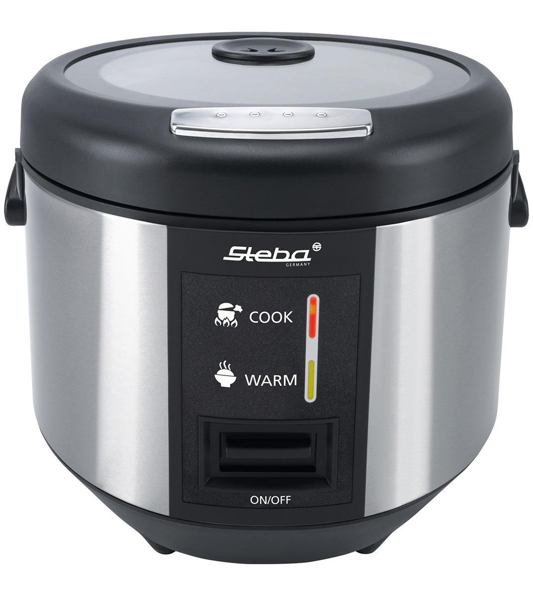 Steba RK 3, Black Silver рисоваркаRK 3Многофункциональная рисоварка Steba RK3 позволяет приготовить не только рис, но и другие продукты на пару (например овощи или рыбу). Прибор имеет большую емкость, а также функцию поддержания тепла. Удобство в повседневном использовании обеспечивается наличием стеклянной крышки с фиксирующим замком, паровым клапаном и надежным антипригарным покрытием.