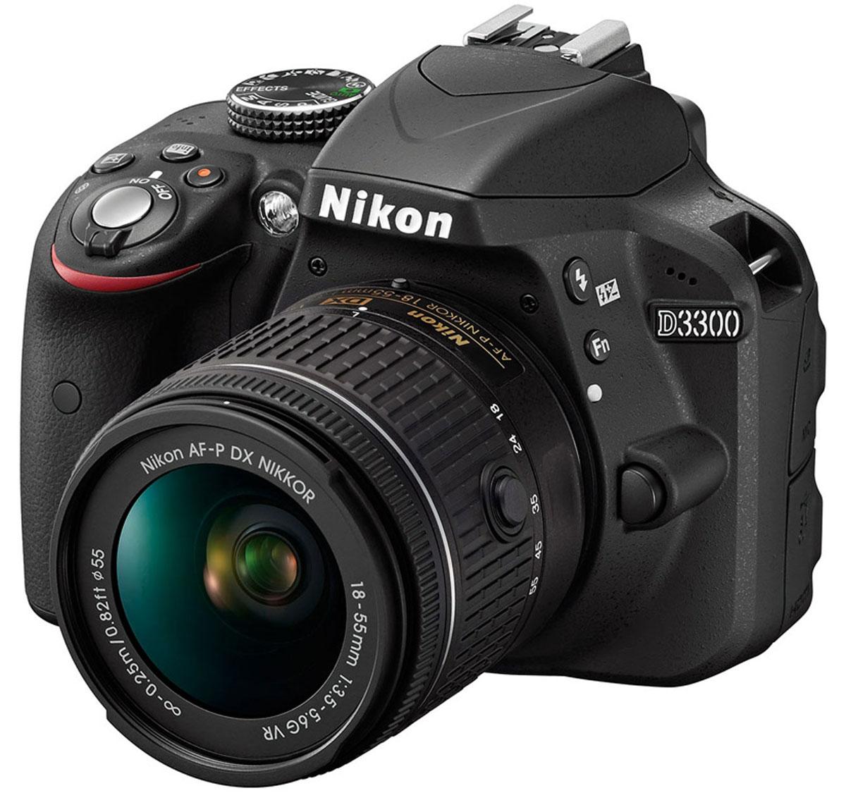 Nikon D3300 Kit 18-55 AF-P VR, Black цифровая зеркальная камераVBA390K008Мощная и простая в использовании цифровая зеркальная фотокамера Nikon D3300 с разрешением 24,2 мегапикселя имеет компактный корпус и небольшой вес. Ее удобно носить с собой, чтобы в нужный момент создавать незабываемые фотографии и видеоролики высокой четкости.Фотокамера D3300 оснащена матрицей с разрешением 24,2 млн пикселей, в конструкции которой не используется оптический низкочастотный фильтр (OLPF). Вы получите резкие и невероятно детализированные изображения даже при съемке текстур с мельчайшими деталями. Большая матрица способна запечатлеть мельчайшие детали с великолепной резкостью и демонстрирует превосходные результаты при слабом освещении. Диапазон значений от 100 до 12 800 единиц ISO (с возможностью расширения до эквивалента 25 600 единиц) позволяет передать все детали при съемке в темноте.В фотокамере Nikon D3300 на выбор предлагаются 13 эффектов, которые позволяют с легкостью создавать художественные фотографии и видеоролики. Просто выберите режим эффектов, укажите параметр, который вы хотите применить, и затем снимайте. Воспользуйтесь фильтром Поп, чтобы сделать цвета более яркими и насыщенными, или фильтром Эффект игрушечной камеры, чтобы создать снимки в стиле ретро. А режим Простая панорама позволит вам запечатлеть все, что вы видите вокруг.Не имеет значения, насколько быстро или хаотично движутся объекты - благодаря фотокамере D3300 они всегда попадут в фокус. Невероятно точная 11-точечная система автофокусировки с датчиком перекрестного типа в центре обеспечивает быструю фокусировку на нужном объекте с последующим ее сохранением в случае перемещения объекта от центра или его быстрого либо непредсказуемого движения.Фотокамера оснащена функцией D-видео, позволяющей снимать видеоролики, которыми можно гордиться. Можно записывать видеоклипы стандарта Full HD (1080p) с хорошей резкостью и частотой кадров до 50p/60p, используя непрерывную автофокусировку. При этом получаются плавн