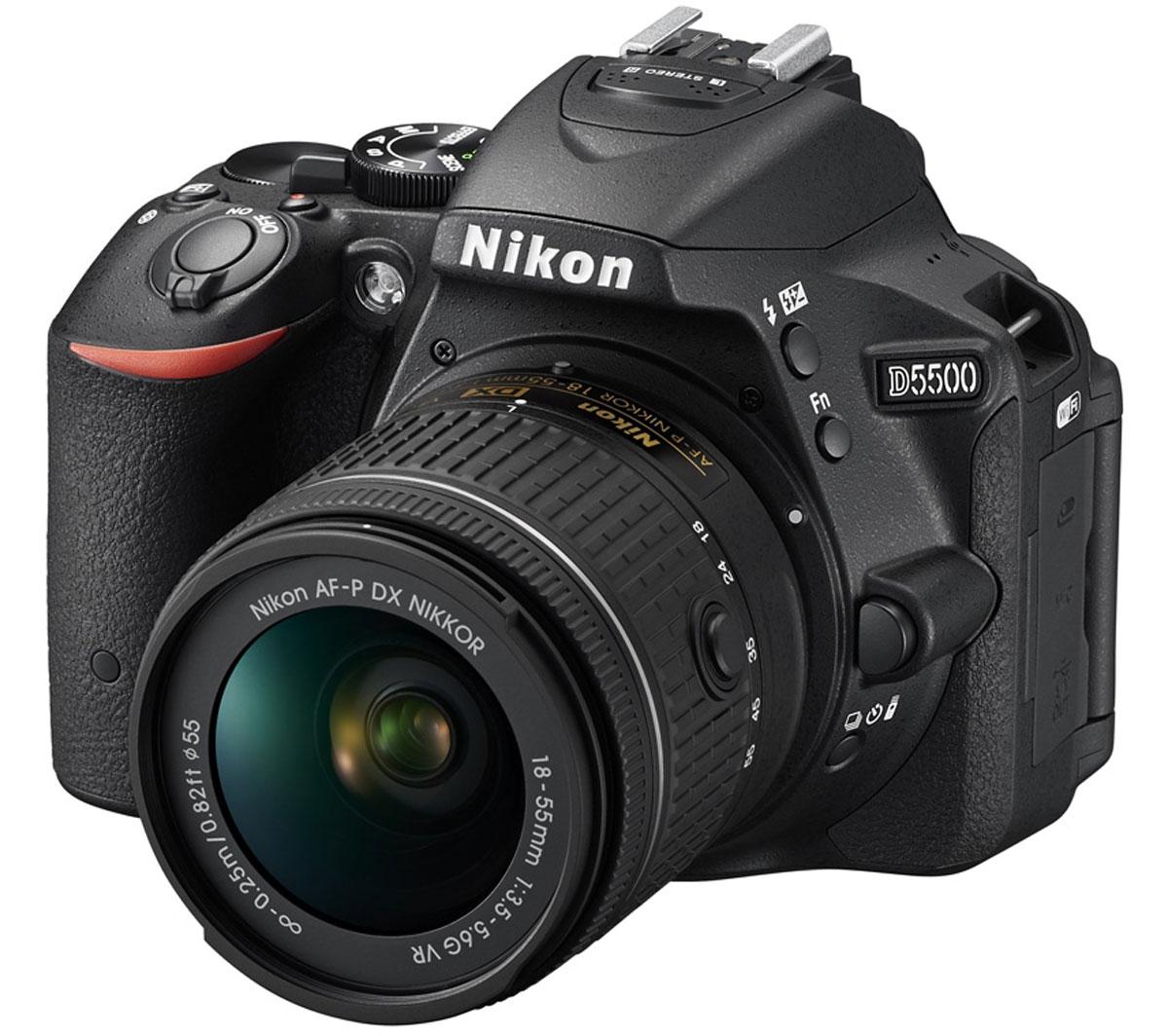 Nikon D5500 Kit 18-55 VR, Black цифровая зеркальная камераVBA440K006Отобразите красоту окружающего мира на великолепных фотографиях, снятых с помощью фотокамеры D5500. Эта легкая и компактная, но в то же время очень мощная цифровая зеркальная фотокамера с удобным и понятным сенсорным управлением позволяет совершенствоваться в искусстве фотографии.Забудьте о смазанных фотографиях и создавайте яркие детализированные изображения, которые всегда будут в центре внимания. Достигайте непревзойденных результатов даже при съемке быстро движущихся объектов или в условиях недостаточной освещенности. Создавайте фотографии и видеоролики отличного качества даже при недостаточном освещении. Благодаря широкому диапазону чувствительности ISO (100-25 600 единиц) изображения получаются как никогда яркими и детализированными.С мощной 24,2-мегапиксельной матрицей вы поразите друзей снимками с высоким уровнем детализации. Фотокамера D5500 оснащена матрицей с разрешением 24,2-мегапикселя, в конструкции которой не используется оптический низкочастотный фильтр (OLPF). Вы получите резкие и детализированные изображения даже при съемке текстур с мельчайшими деталями.Управляйте фотокамерой с той же легкостью, что и смартфоном. Смело переворачивайте, наклоняйте и крутите сенсорный экран, выбирая необычные ракурсы, а затем просто коснитесь экрана, чтобы сфокусировать фотокамеру и сделать снимок. Выступающая рукоятка настолько удобна и надежна, что вам не захочется выпускать фотокамеру из рук. Благодаря этой особенности, а также компактному размеру и небольшому весу модель D5500 обеспечивает непревзойденный комфорт при съемке.Записывайте плавные видеоклипы в формате Full HD с высокой детализацией (с частотой кадров до 50p/60p), которые обязательно понравятся зрителям. Непрерывная автофокусировка в режиме Live View позволяет сохранять резкость объекта съемки даже в случае его быстрого передвижения.Инновационная 39-точечная система автофокусировки от компании Nikon обеспечивает точное наведение на о