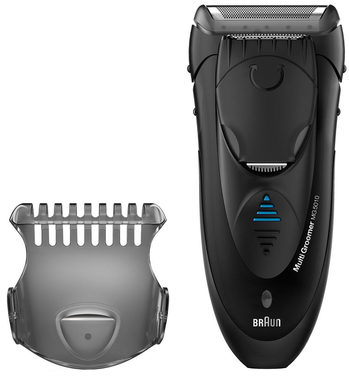 Braun MG 5010 Wet & Dry электробритва81519177Триммер Braun MG 5010 – это удобный инструмент, который поможет вам создать собственный неповторимый стиль и подчеркнет вашу индивидуальность. Он прост и понятен в эксплуатации, с ним легко воплощать в жизнь разные образы: вы можете добиться идеально гладкой кожи или придать форму бородке. В комплекте к триммеру вы найдете специальный гребень – насадку для создания эффекта трехдневной щетины. Широкая бреющая головка с сеткой SmartFoil гарантирует, что процесс бритья будет быстрым и максимально эффективным.Двойной триммер:Если вы хотите поэкспериментировать и попробовать моделировать растительность на лице, стоит купить MG5010. Он имеет двойной триммер для моделирования, который выдвигается одним легким движением. Широкая сторона помогает быстро обрабатывать большие участки щетины, а более узкая идеально подходит для очерчивания точных контуров. Эргономичный корпус прибора комфортно лежит в руке во время работы, вы можете легко маневрировать триммером, чтобы добиться четких и выразительных линий.Быстрая зарядка:Данная модель имеет двойную батарею, которая гарантирует высокую производительность. Всего 1 час потребуется для того, чтобы полностью зарядить ваш триммер. После полной зарядки он может работать в течение 30 минут. Если вы спешите, а триммер полностью разряжен, зарядите его в течение 5 минут – этого будет достаточно для одного сеанса работы. О состоянии заряда батареи вам сообщит световой индикатор. Вы сможете пользоваться триммером в любой стране, так как он способен автоматически адаптироваться к напряжению сети. Цена Braun MG5010 соответствует его надежности и прекрасному качеству.