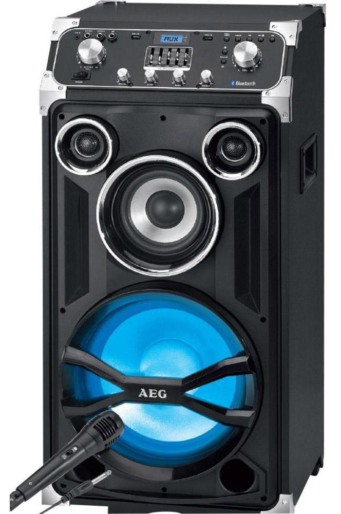 AEG EC 4834 аудиосистема BluetoothEC 4834Переносной развлекательный центр, оснащен LCD-дисплеем с синей подсветкой, переключателем ВКЛ/ВЫКЛ, также имеет функцию караоке (в комплекте микрофон).Максимальная мощность (RMS) — 250 Вт Центр оснащен 2 USB-портами, входом AUX-IN*, системой раздельной р