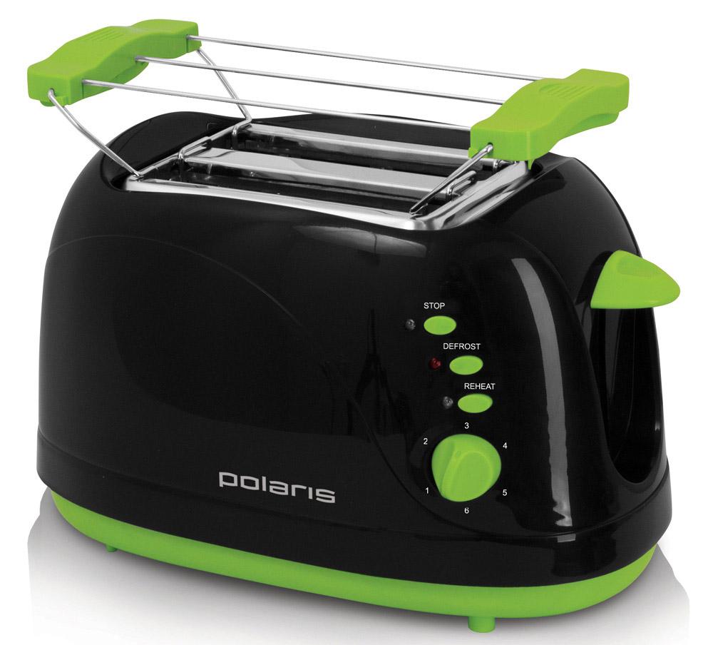Polaris PET 0702LB, Black Green тостерPET 0702LBТостер PET 0702LB от Polaris порадует вас возможностью выбрать одну из нескольких степеней поджаривания ваших тостов - двух одновременно! Его корпус сконструирован таким образом, чтобы не нагреваться при работе - безопасность на кухне прежде всего. Он умеет не только поджаривать ломтики хлеба, но и подогревать булочки на специальной решетке, и даже размораживать продукты.Чтобы ваше утро стало немного веселей, он поджарит ломтик хлеба, нарисовав на нём озорную улыбку. А кнопка отмена поможет вовремя исправить сделанную спросонья ошибку. Ещё одна приятная и удобная деталь - поддон для сбора крошек.