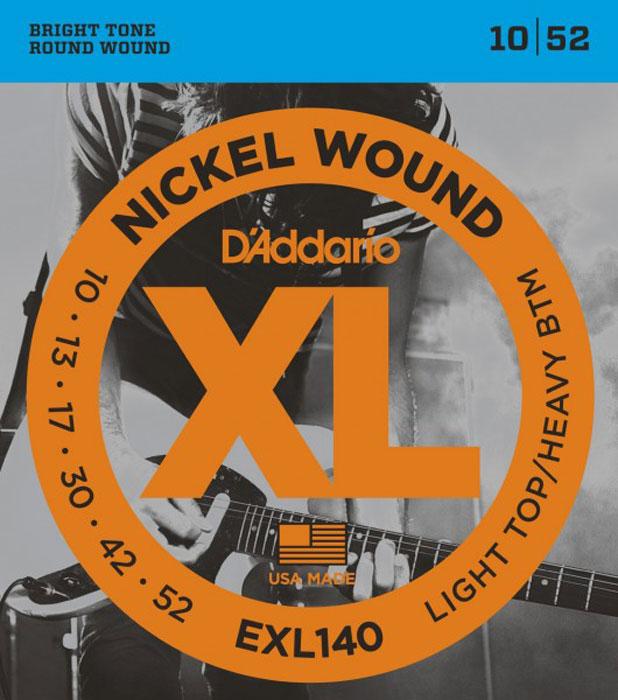 DAddario EXL140 струны для электрической гитарыDNT-13029Daddario EXL140 – один из наиболее популярных гибридных комплектов DAddario, сочетающий верхние струны из набора EXL110 (калибра .010) и тяжелые нижние струны (калибра .052). Такая комбинация обладает мощным низовым звуком, необходимым для пауэр-аккордов, а стальные струны без обмотки обеспечивают необходимую гибкость при оттягивании.Струны XL с никелевой обмоткой - самые популярные струны DAddario для электрогитары - выполняются в прецизионной обмотке из стали с никелевым покрытием, нанесенной на тщательно изготовленный сердечник шестигранного профиля из стали с высоким содержанием углерода.В результате получаются струны с долгим, отчетливо ярким звучанием и превосходной интонацией, идеально подходящие для самого широкого спектра гитар и музыкальных стилей.Первые струны: высокоуглеродистая стальБасовые струны: сталь (никелевое покрытие) - круглая обмоткаШестигранный корд Натяжение: Light Top/Heavy Bottom