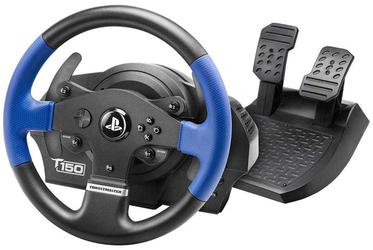 Thrustmaster T150 RS EU Version руль для PS4/PS3/PC (4160628)THR30Thrustmaster T150 RS EU Version - реалистичный руль диаметром 28 см с эргономичным дизайном, который подходит для любых гоночных игр. В нем имеется доступ к социальным функциям, переключение между игрой и системой, навигация по меню консоли и прочее.Данная модель обладает полноценным приводным механизмом, прорезиненными местами хвата, а также двумя крупными секвентальными лепестковыми переключателями скоростей. Официальная прошивка обеспечивает автоматическое распознавание руля системой PS4. Для совместимости с PS4 и PS3 имеется специальный переключатель.Силовая обратная связь 1080° с технологией Immersion TouchSenseСистема привода с силовой обратной связью обеспечивает полноту ощущений во время гонок (рельеф дороги и гоночного трека, потеря сцепления, торможение, неровности, столкновения и т. д.)Особенности:Угол поворота регулируется в диапазоне от 270° до 1080°Оптическое считывание с разрешением в 12 бит (4096 значений поворота оси руля)Комбинированная система со шкивом ременной передачи и шестернями Встроенная память и обновляемое микропрограммное обеспечениеНадежная и многофункциональная система крепления, совместимая с любой поверхностью Педали с широким упором для ногРегулируемый угол наклона каждой педалиПедаль тормоза с прогрессивным сопротивлениемСовместимость с педальными блоками T3PA и T3PA-PRO (Thrustmaster 3 Pedals Add-on)Совместимость с коробкой передач Thrustmaster TH8A