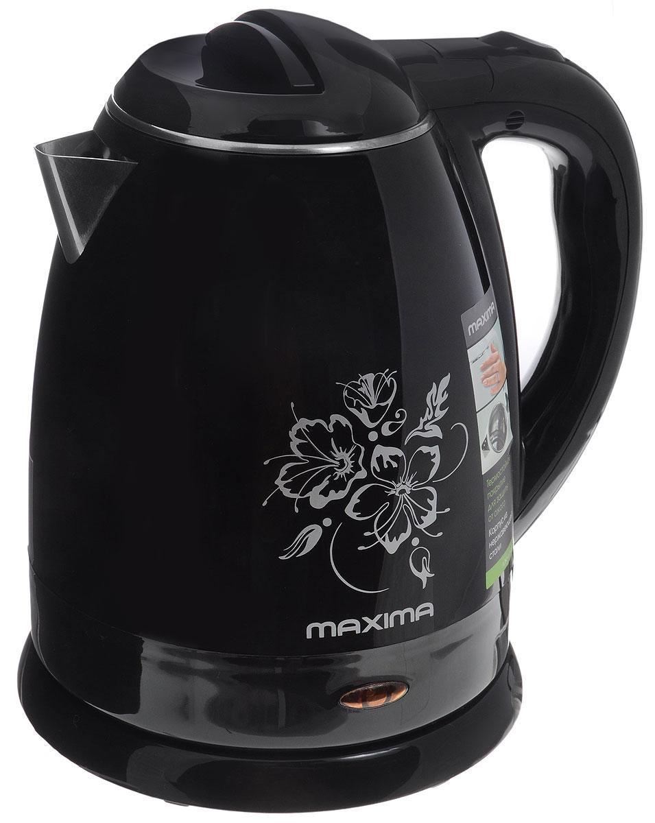 Maxima MK-M421, Black электрический чайникMK-M421_BlackСтильный чайник Maxima MK-M421 позволит быстро вскипятить нужное количество воды. Широко открывающаяся крышка и дисковый нагревательный элемент способствуют для комфортной эксплуатации чайника. Термостойкое покрытие корпуса защищает от ожога.