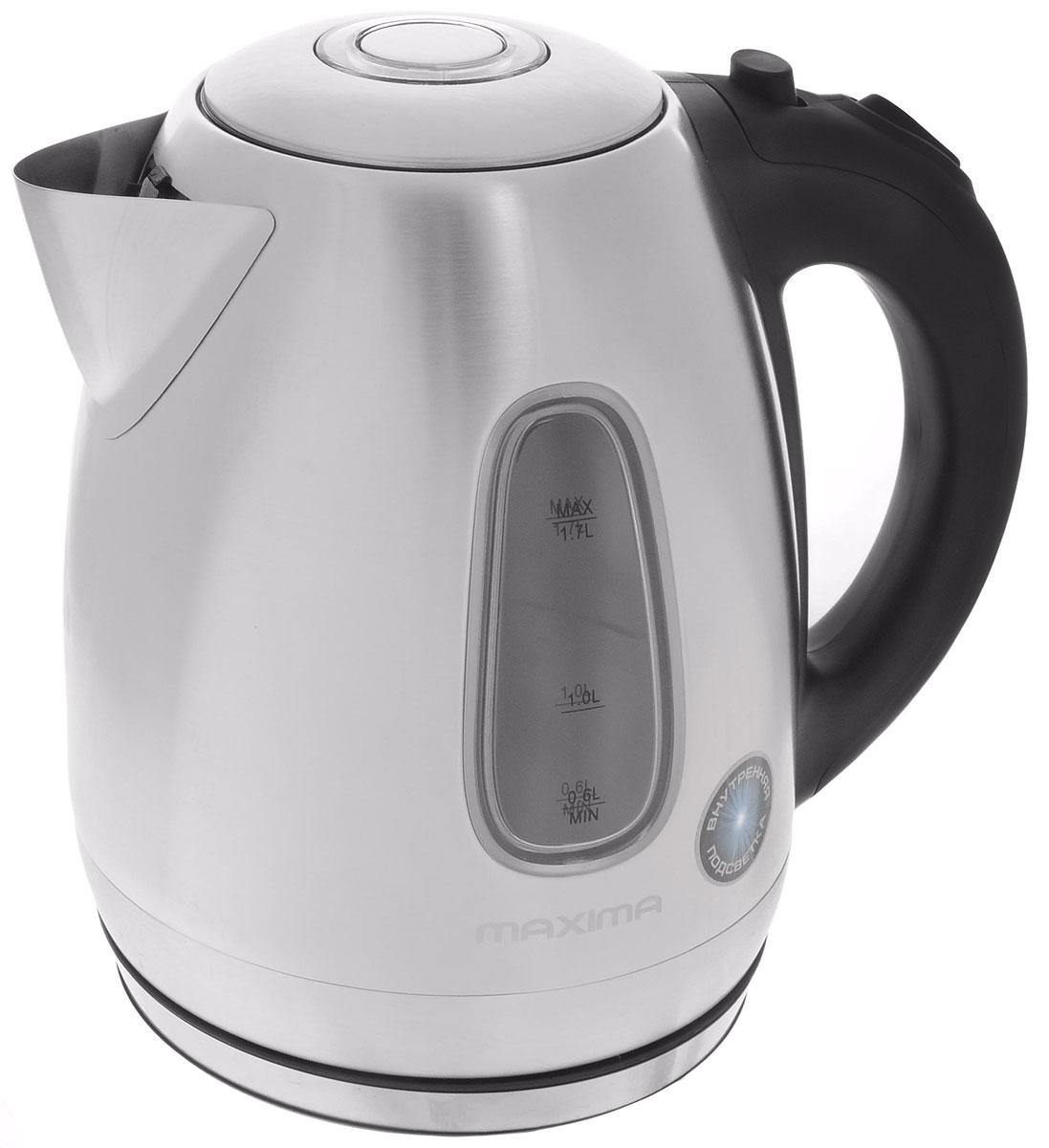 Maxima MK-M401 электрический чайникMK-M401Стильный чайник Maxima MK-M401 из высококачественных материалов позволит быстро вскипятить нужное количество воды. Широко открывающаяся крышка, мелкопористый фильтр от накипи и дисковый нагревательный элемент - всё создано для комфортной эксплуатации чайника.