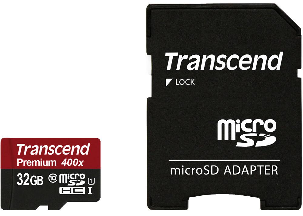 Transcend Premium microSDHC Class 10 UHS-I 400x 32GB карта памяти с адаптеромTS32GUSDU1Карты памяти Transcend microSDXC/SDHC UHS-I были созданы для того, чтобы повысить эффективность работы с вашим смартфоном или планшетом, и соответствуют всем требованиям стандарта Ultra High Speed Class 1. Построенные на основе самых современных технологий, эти карты обеспечивают максимальный уровень производительности в требовательных к работе подсистемы памяти играх и приложениях, а также позволяют без задержек воспроизводить Full HD-видео с полной кадровой частотой.Чтобы гарантировать максимальный уровень производительности и надежности, Transcend испытывает свои карты памяти microSD в наиболее суровых условиях эксплуатации. Данная модель соответствует стандарту IPX7 и сохраняет работоспособность даже после погружения на 30 минут в воду на глубину до 1 м. Карты этой серии защищены от статического электричества: им не страшны статические заряды, поскольку они выполнены в соответствии с нормами стандарта EMC IEC61000-4-2.Карты памяти отличаются прекрасной ударопрочностью, виброустойчивостью, высокой жесткостью корпуса на изгиб и кручение. Имеется также защита от рентгеновского излучения: соответствуют стандарту ISO7816-1 и не подвержены влиянию используемых в аэропортах рентгеновских сканеров.Скорость передачи данных: до 60 МБ/с