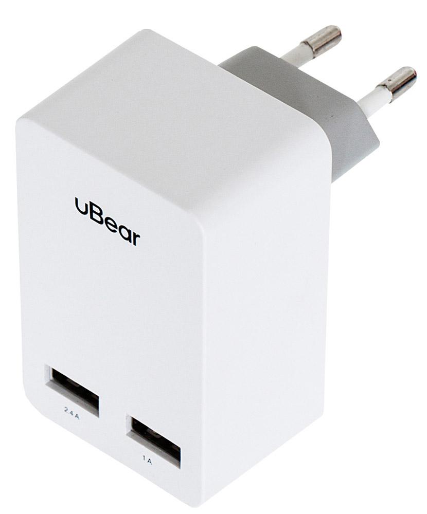 uBear 2 USB Wall Charger 3.4 А, White cетевое зарядное устройствоWC02WH01-ADЗарядное устройство uBear 2 USB Wall Charger 3.4 А предназначено для заряда батареи мобильных телефонов, смартфонов и других цифровых устройств через USB от сети 100-240В. Он подходит для розетки европейского стандарта, тем самым устройство можно подключить к большинству розеток. Выходные параметры адаптера достаточны для питания различных типов портативной электроники.USB1 - 2,4АUSB2 - 1А