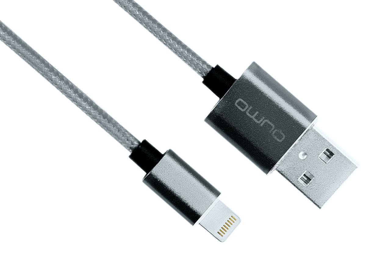 QUMO MFI кабель USB-Apple 8pin в оплетке, Grey (1 м)20718Кабель QUMO полностью совместимый со всеми версиями iOS, лицензирован Apple, используется для быстрой и надежной подзарядки и передачи данных для iPod, iPhone, iPad.
