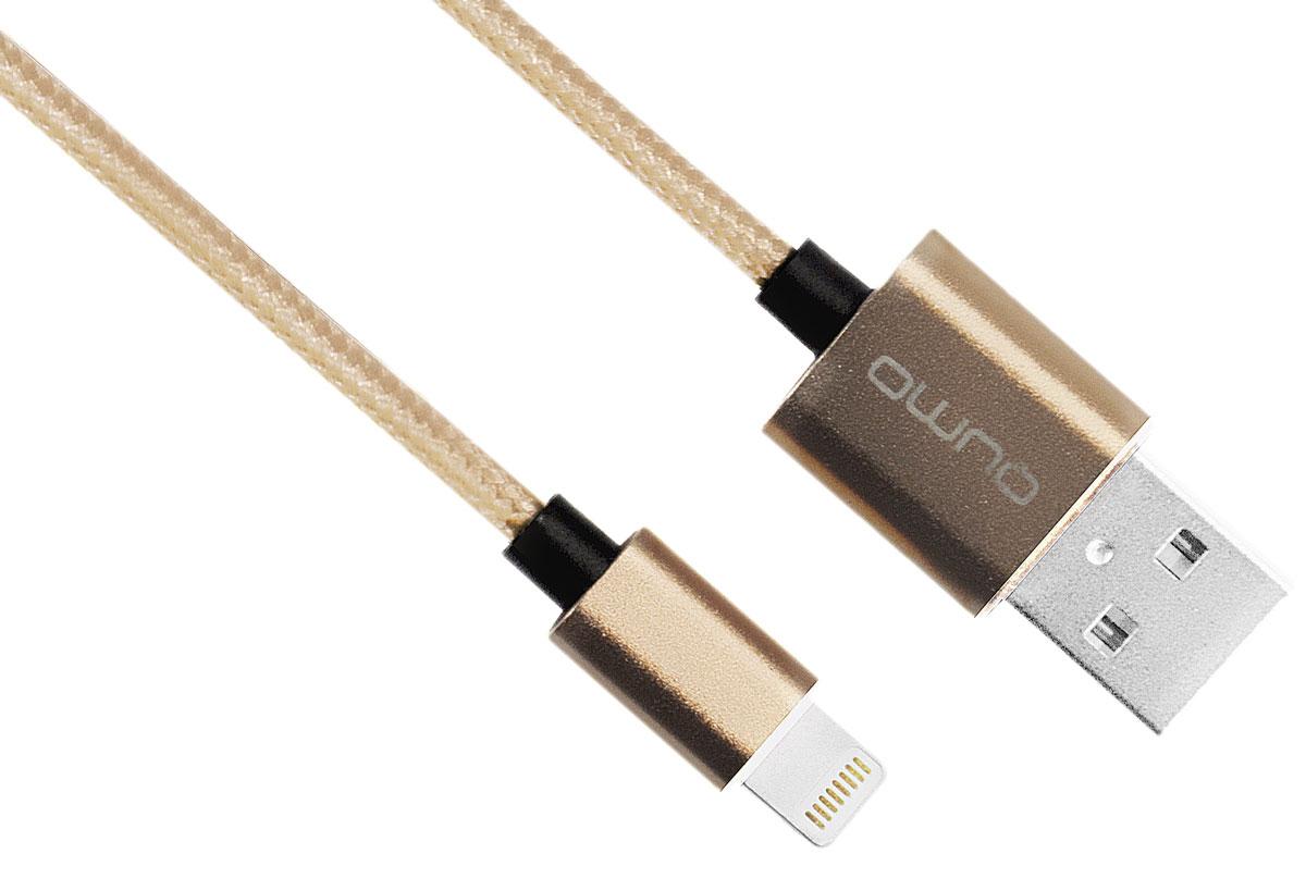 QUMO MFI кабель USB-Apple 8pin в оплетке, Gold (1 м)20719Кабель QUMO полностью совместимый со всеми версиями iOS, лицензирован Apple, используется для быстрой и надежной подзарядки и передачи данных для iPod, iPhone, iPad.