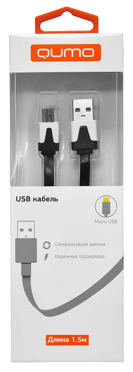 QUMO кабель microUSB-USB плоский, Black (1,5 м)20517Высококачественный кабель QUMO для надежной подзарядки и синхронизации данных для устройств с разъемом microUSB.
