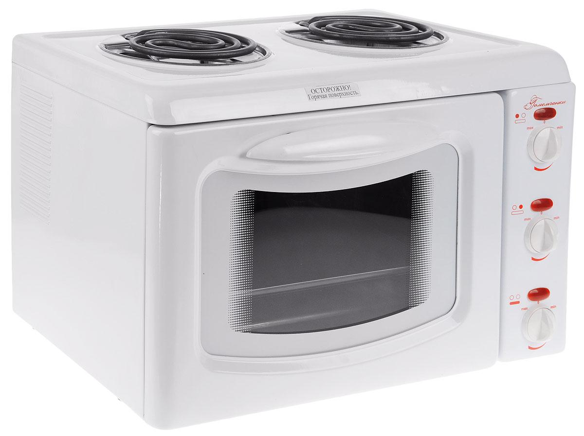 Гомельчанка ЭНТШ 5-2-2,8/2,0-220, White мини-печьЭНТШ5-2-2,8/2,0-220-01.1Мини-печь Гомельчанка - это небольшой многофункциональный прибор, выполняющий функцию плиты и духовки. Прибор идеально подходит для дачи, ведь он не требует специального подключения, а также станет прекрасным решением для малогабаритной кухни.Внутри мини-печи Гомельчанка расположены два нагревательных элемента, которые обеспечивают равномерное распределение тепла.
